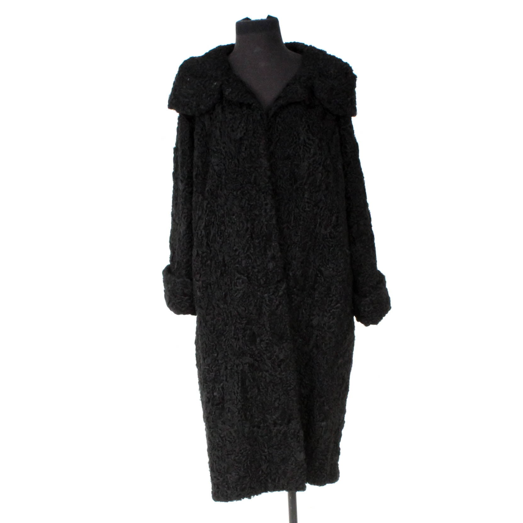 Vintage T. Galistino's Black Persian Lamb Fur Coat