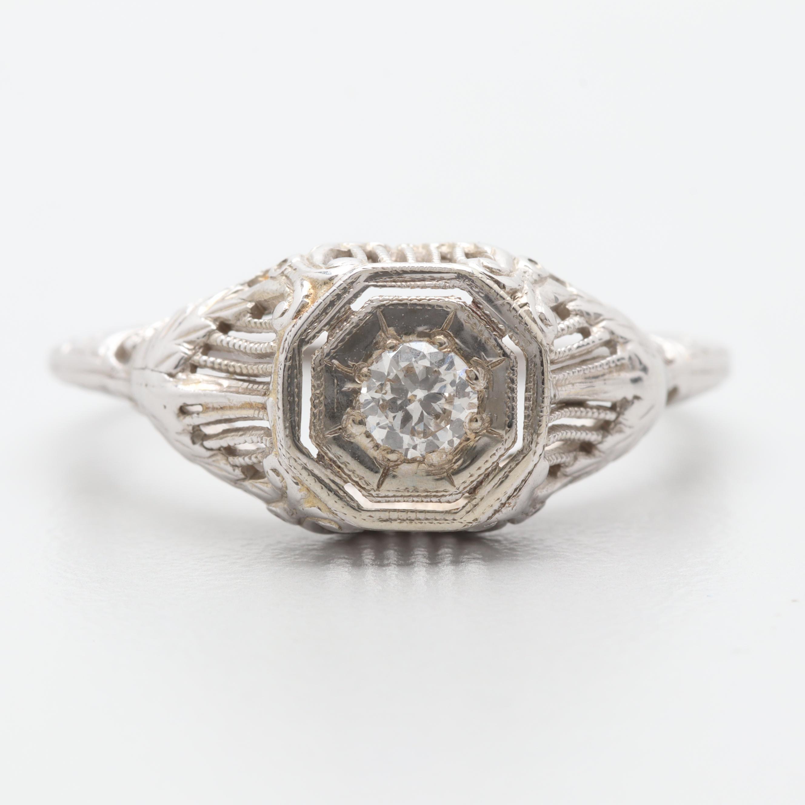 Art Deco 18K White Gold Diamond Solitaire Ring