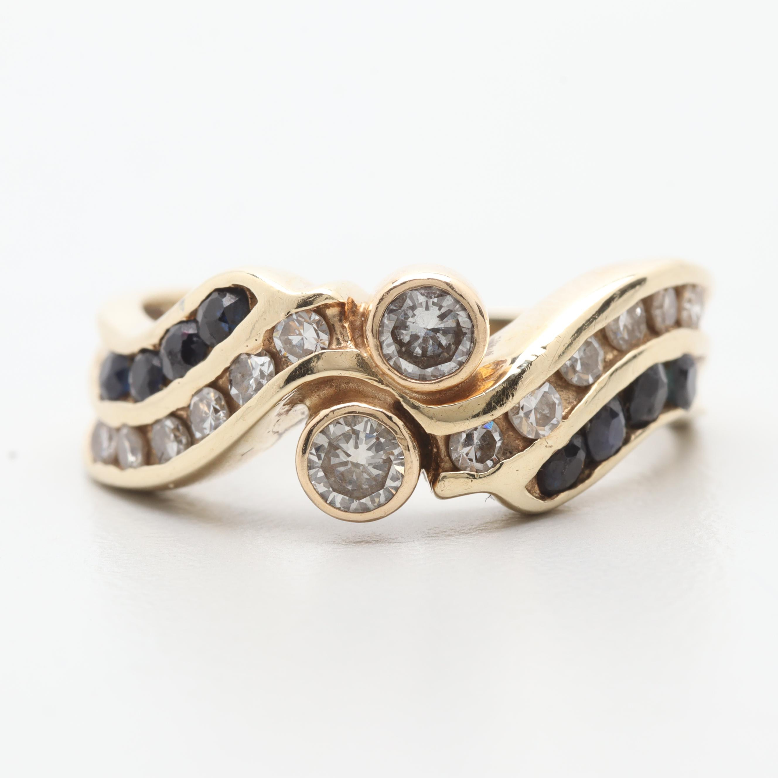 14K Yellow Gold Diamond and Blue Sapphire Bypass Ring