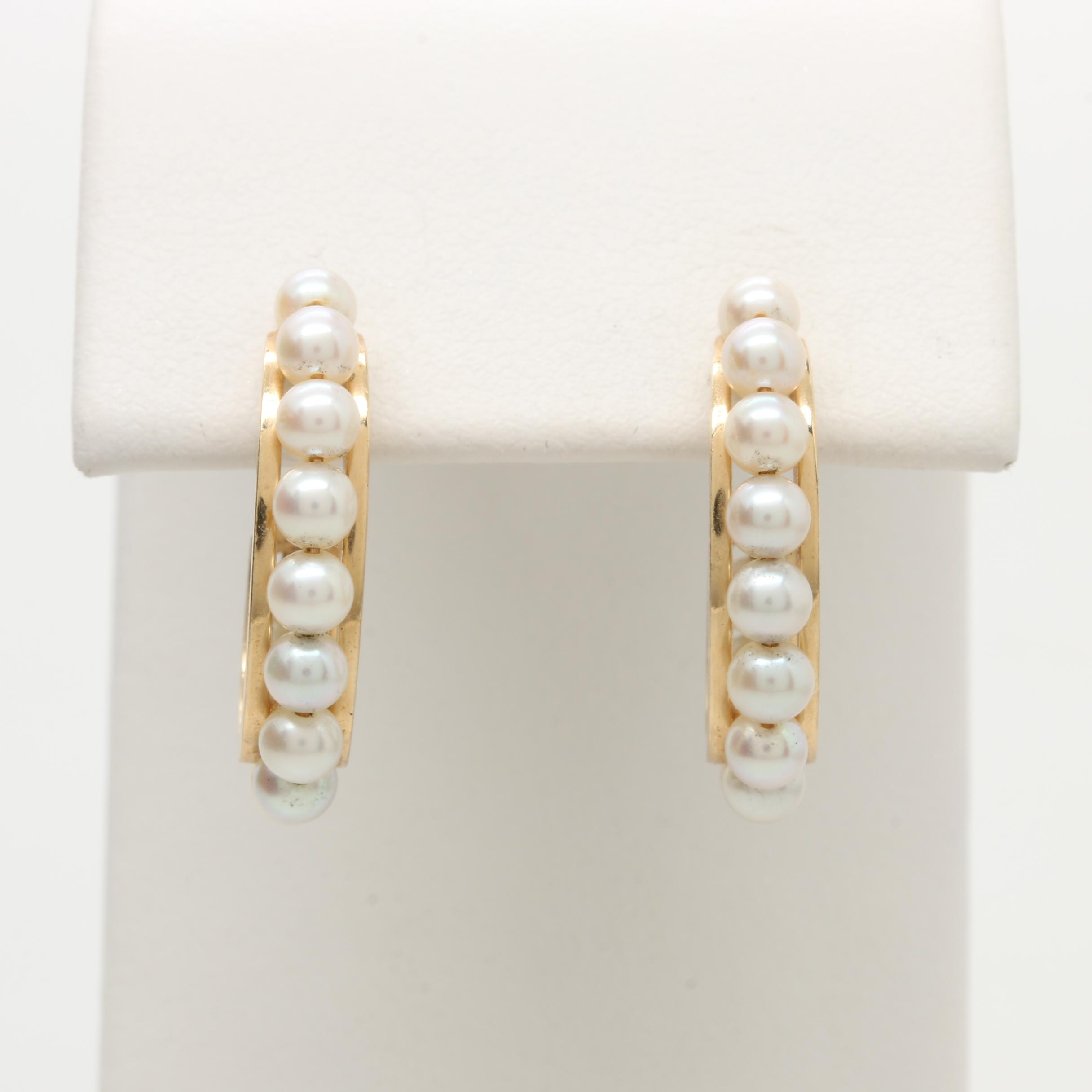 14K Yellow Gold Cultured Pearl Half Hoop Earrings