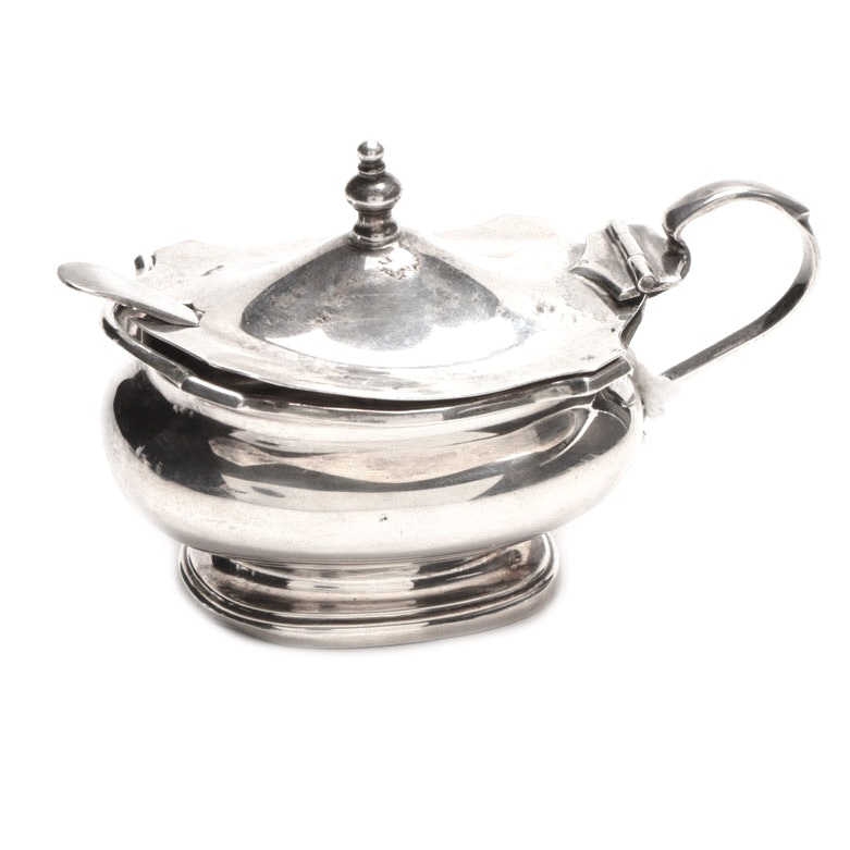 F. C. Richards Sterling Silver Mustard Pot With Stokes & Ireland Spoon