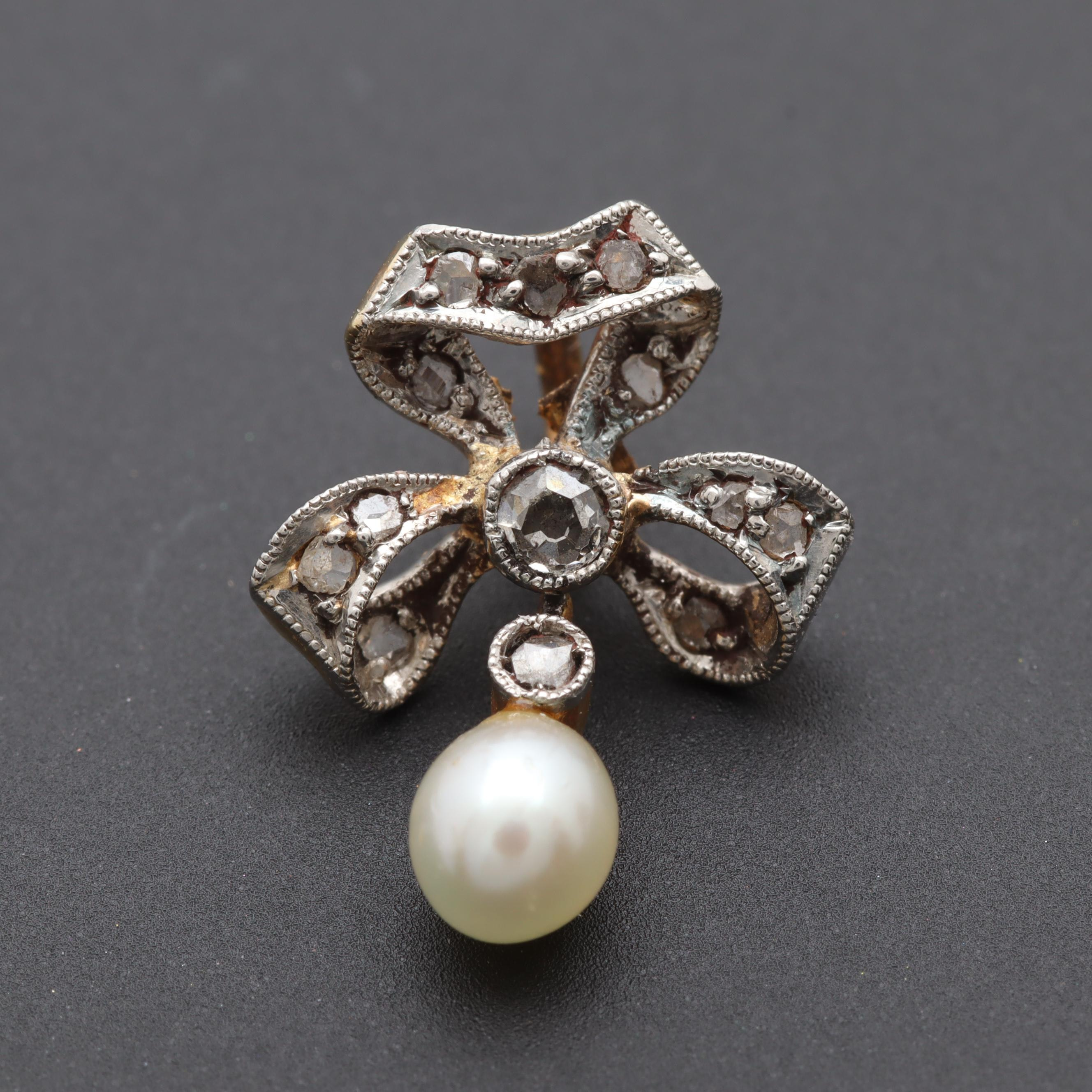 14K Yellow Gold and Platinum Diamond and Cultured Pearl Pendant