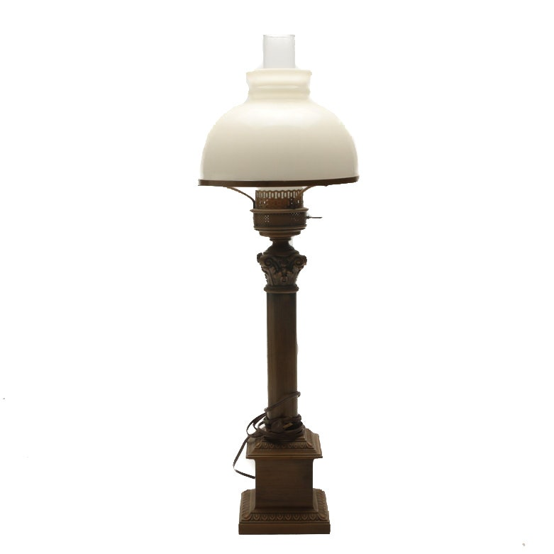 Corinthian Column Table Lamp with Milk Glass and Hurricane Shade