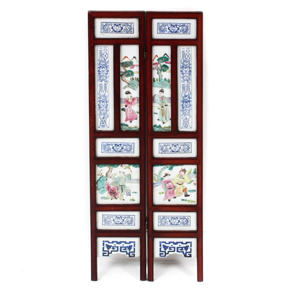 Vintage Chinese Famille Rose Porcelain Screen with Wooden Frame