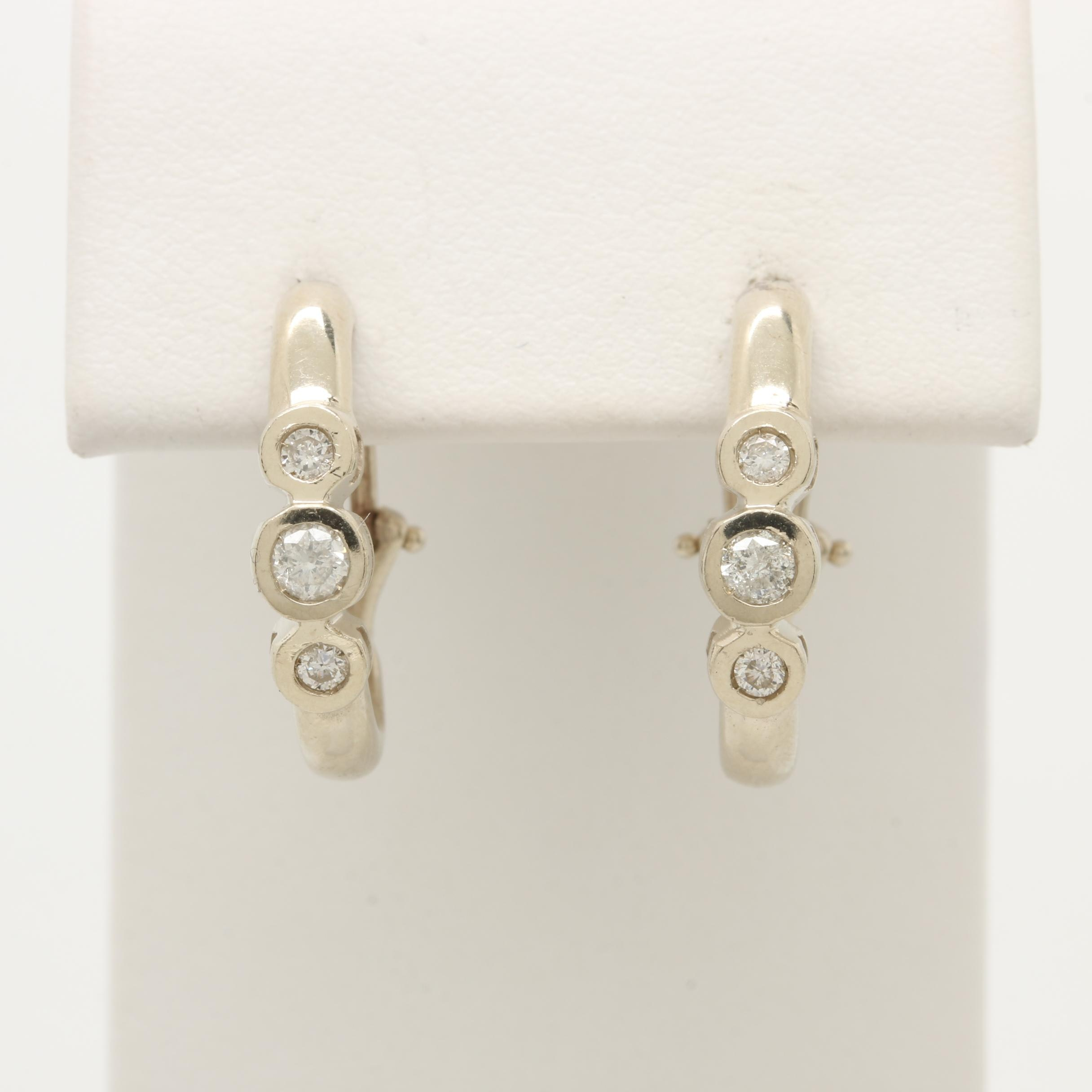 14K White Gold Diamond Half Hoop Earrings
