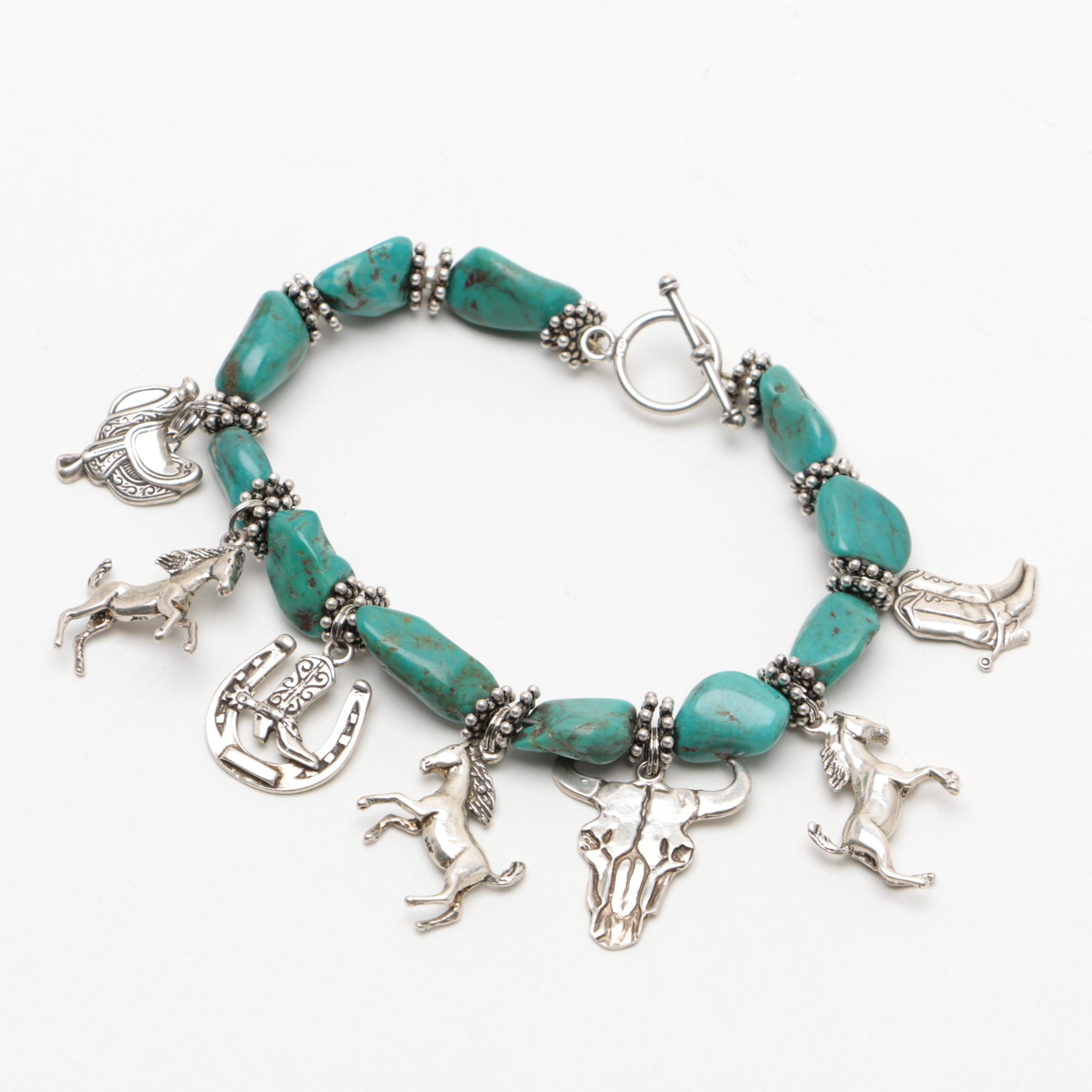 Southwest Style Sterling Silver Charm and Dyed Howlite Bracelet