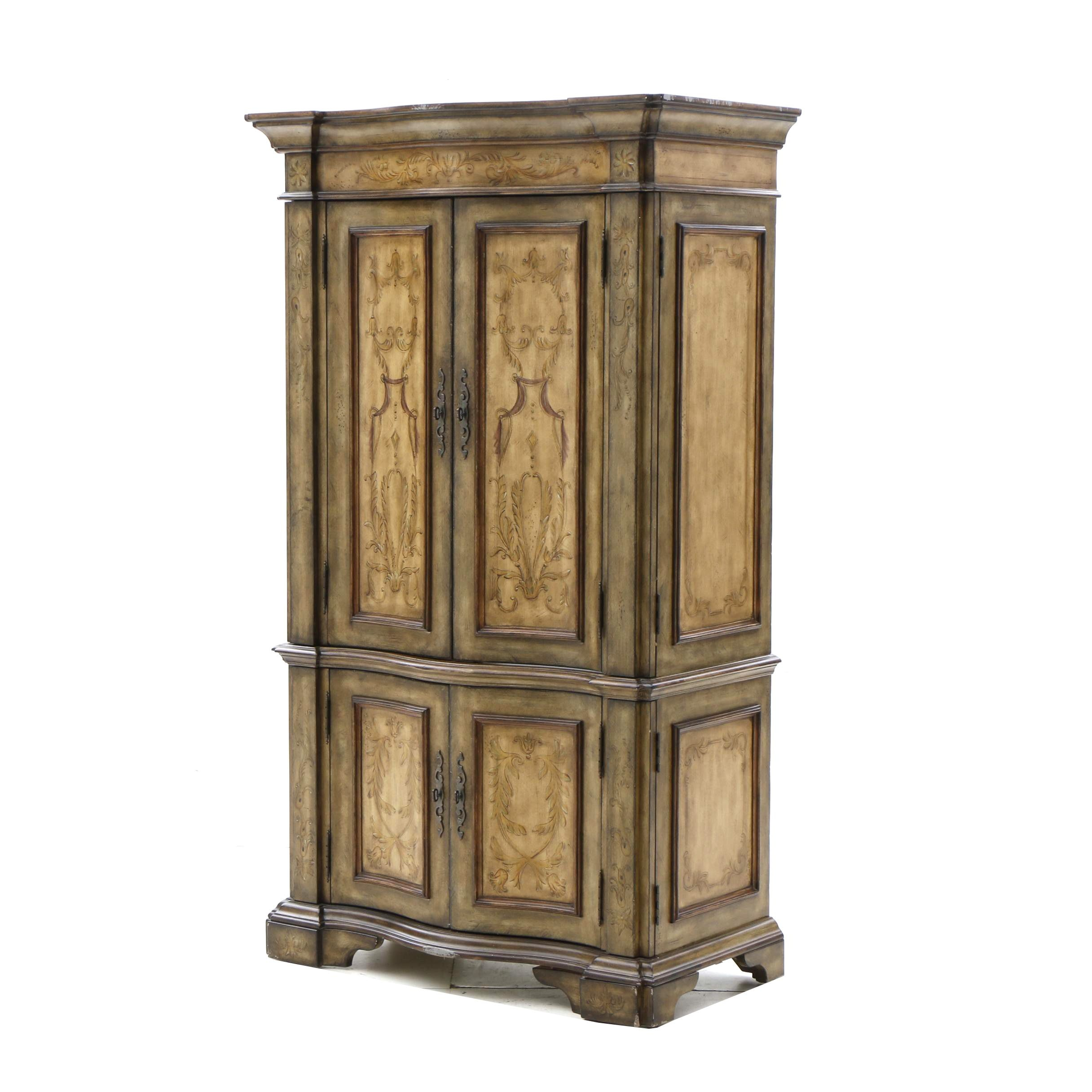 Italian Style Paint Decorated Media Cabinet