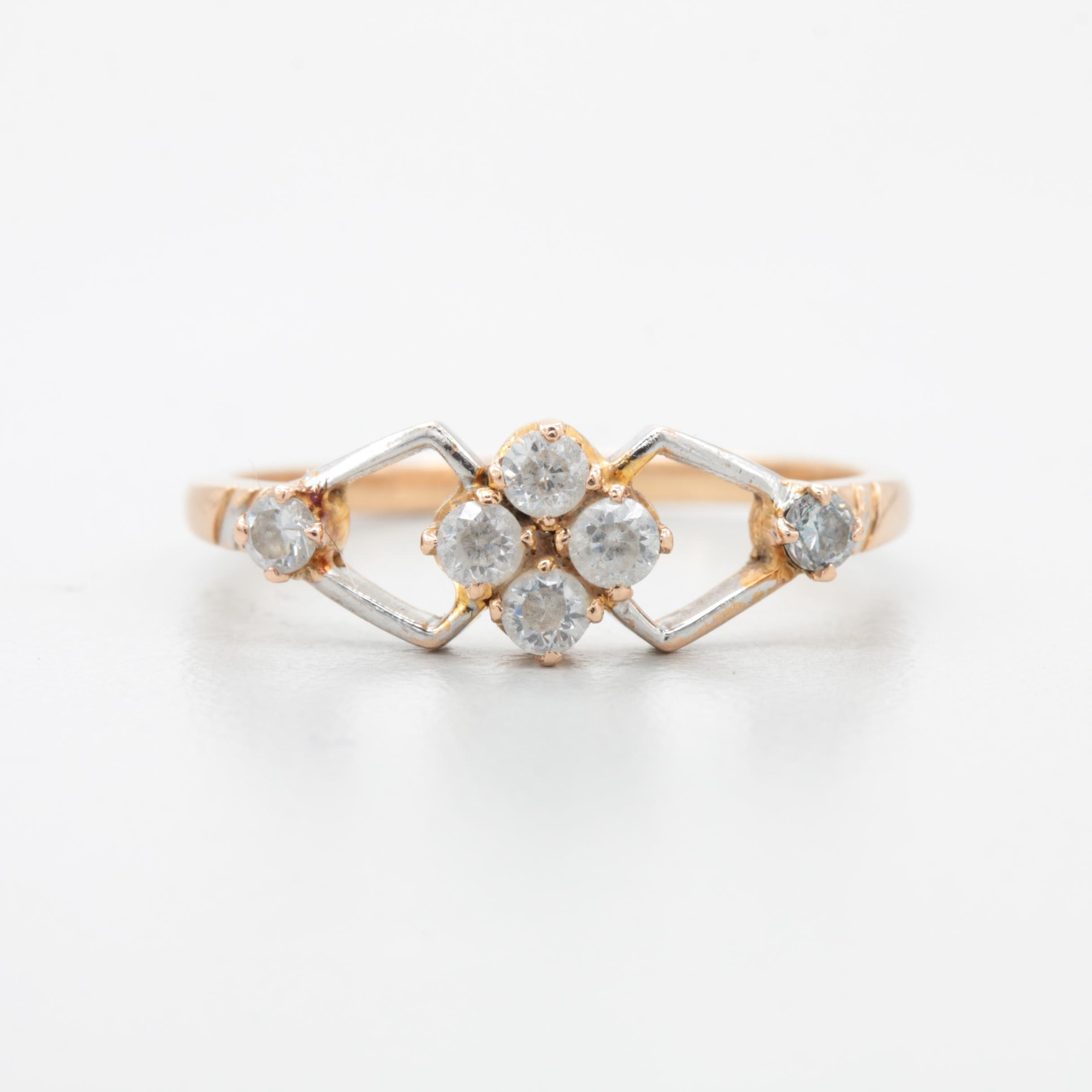 14K and 18K Yellow Gold Cubic Zirconia Ring with White Gold Accents