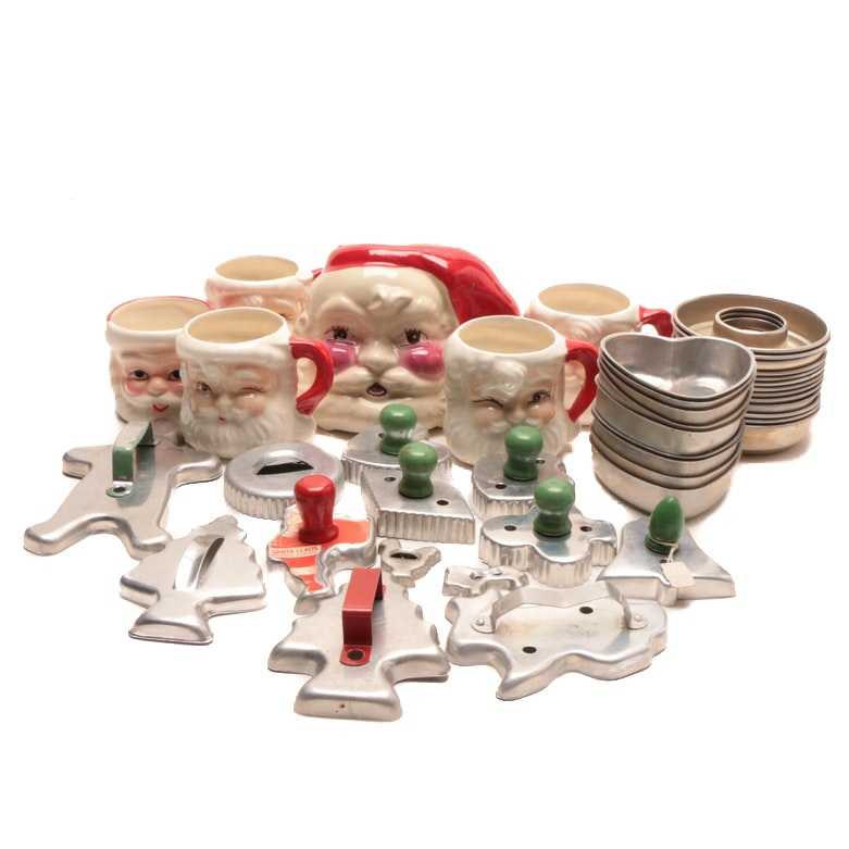 Santa Claus Mugs and Planter with Cookie Cutters and Small Molds