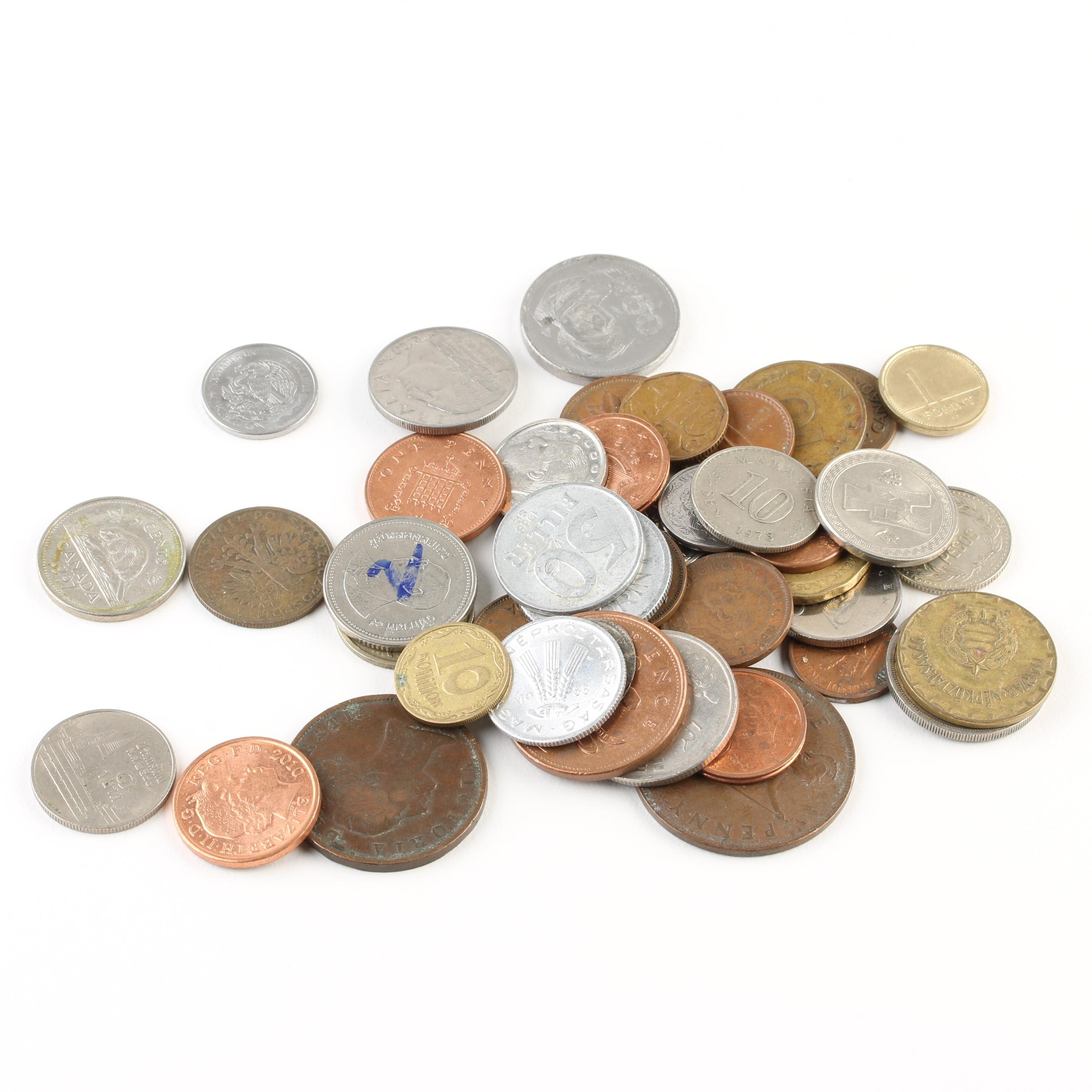 Group of Forty-Three Foreign Coins