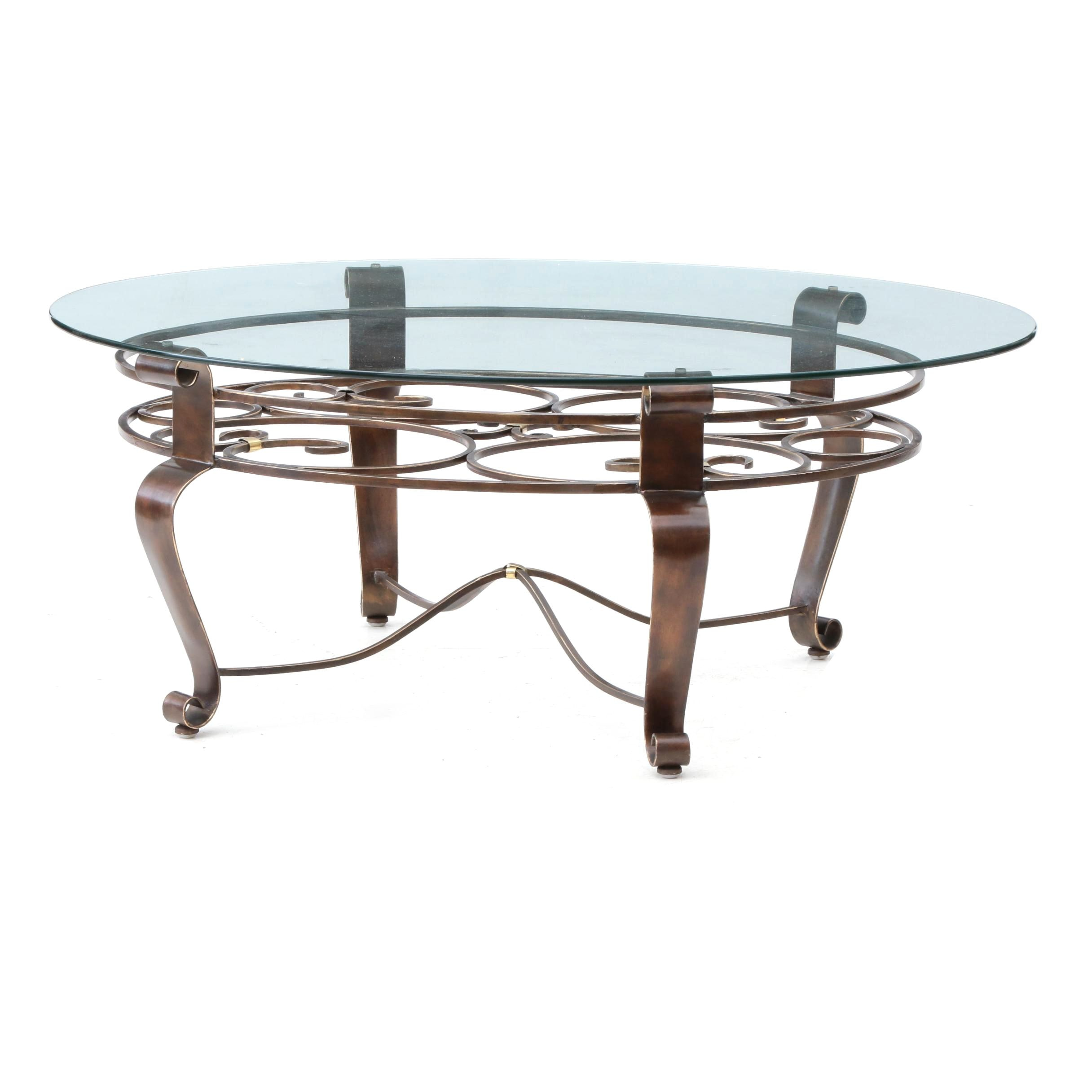Wrought Metal and Oval Glass Coffee Table