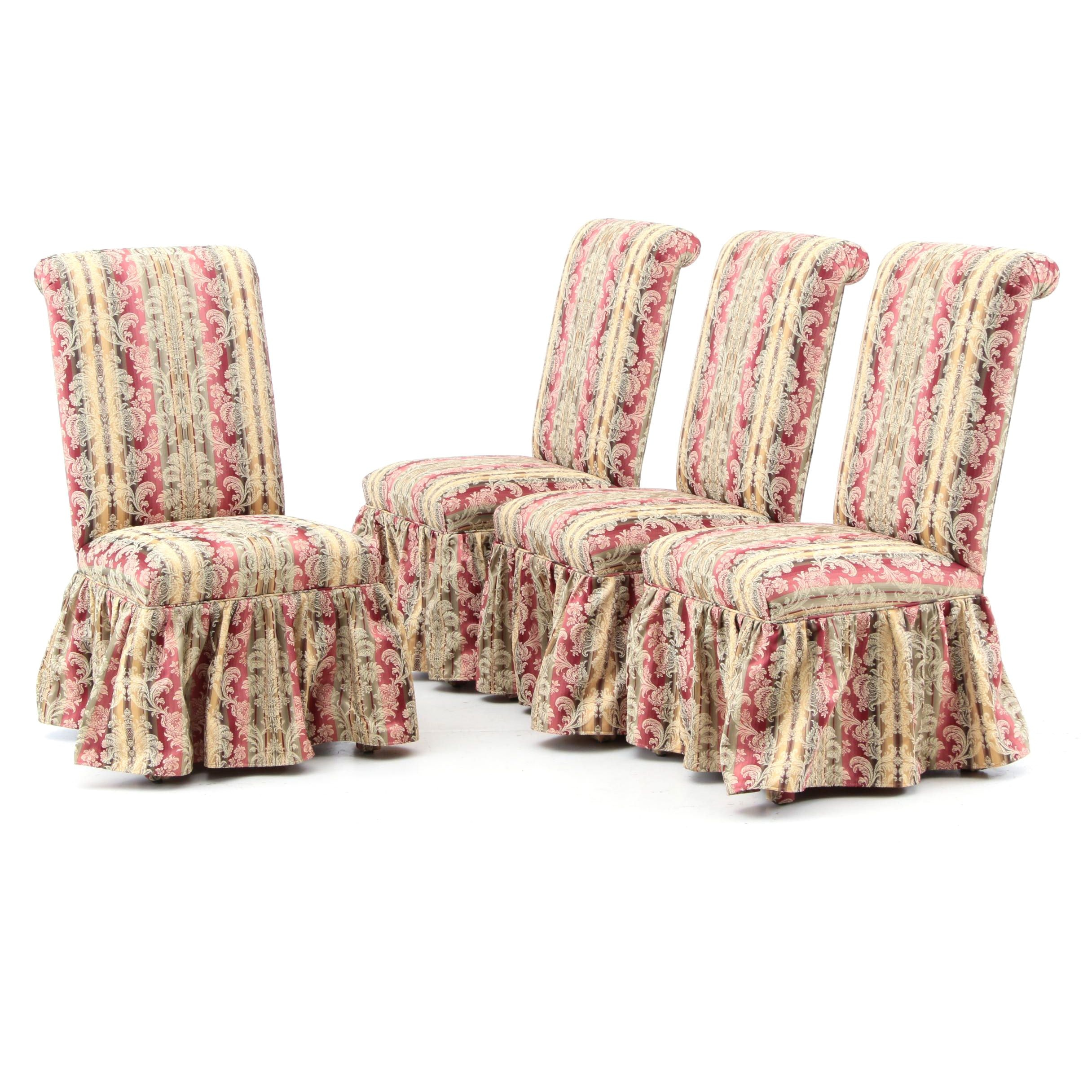 Four Striped Damask Side Chairs