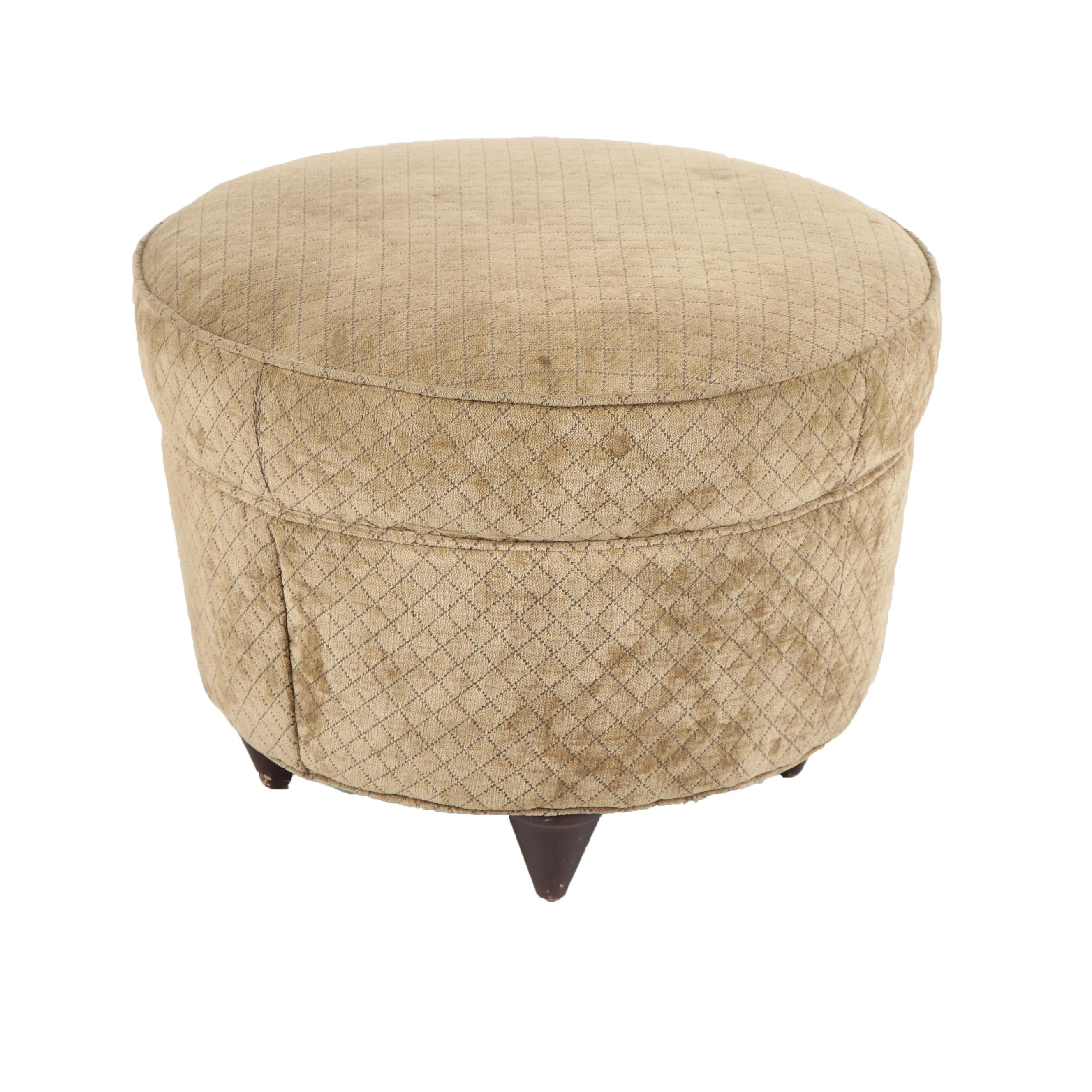 Taupe Upholstered Circular Footstool