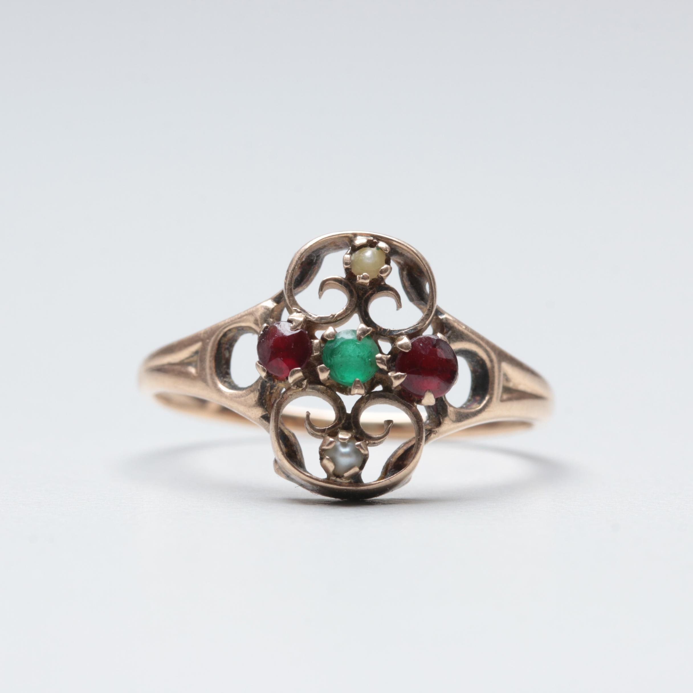 Victorian 10K Yellow Gold Glass, Garnet and Seed Pearl Ring