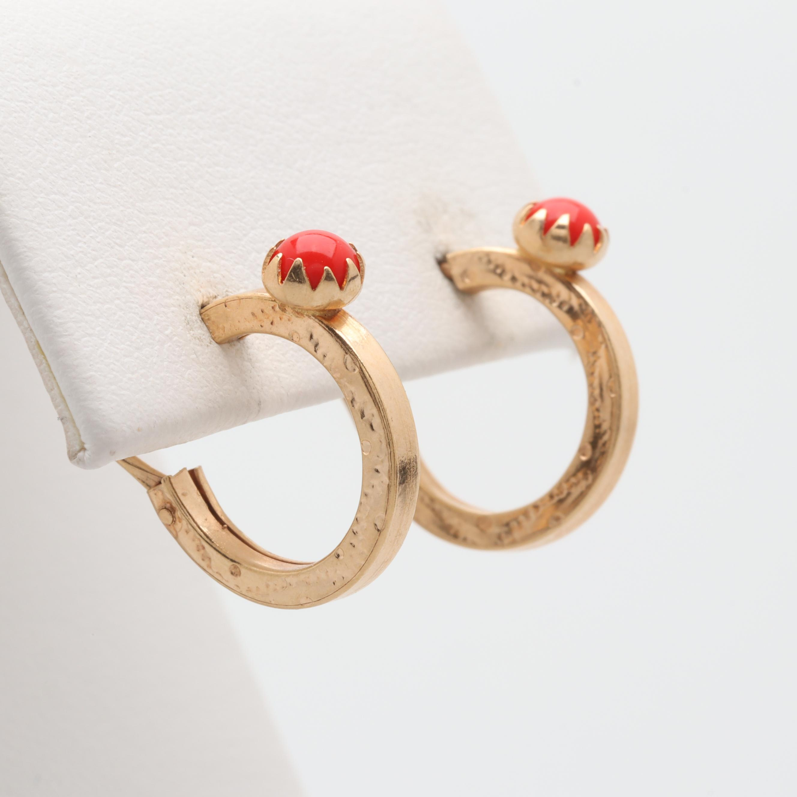 14K and 18K Yellow Gold Glass Hoop Earrings