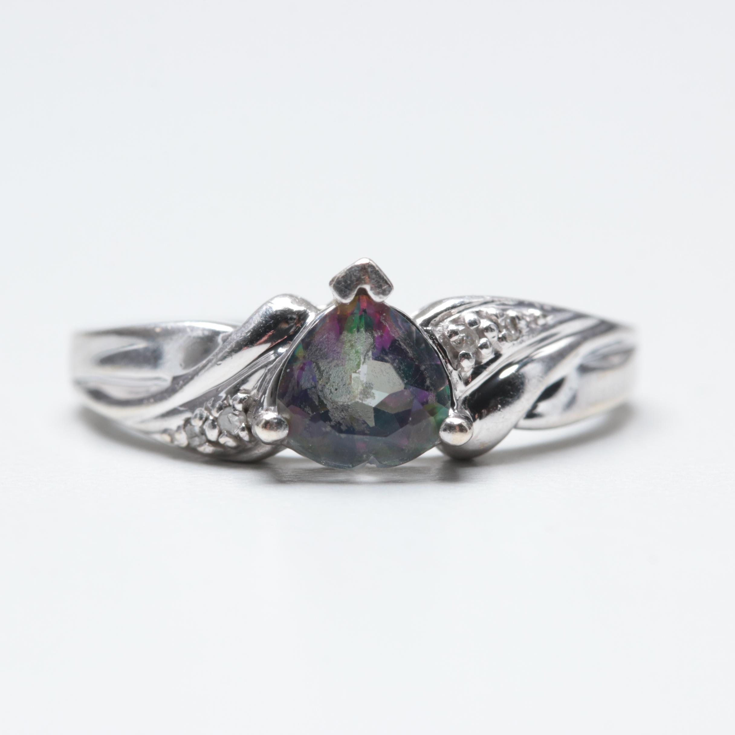 10K White Gold Mystic Topaz and Diamond Ring