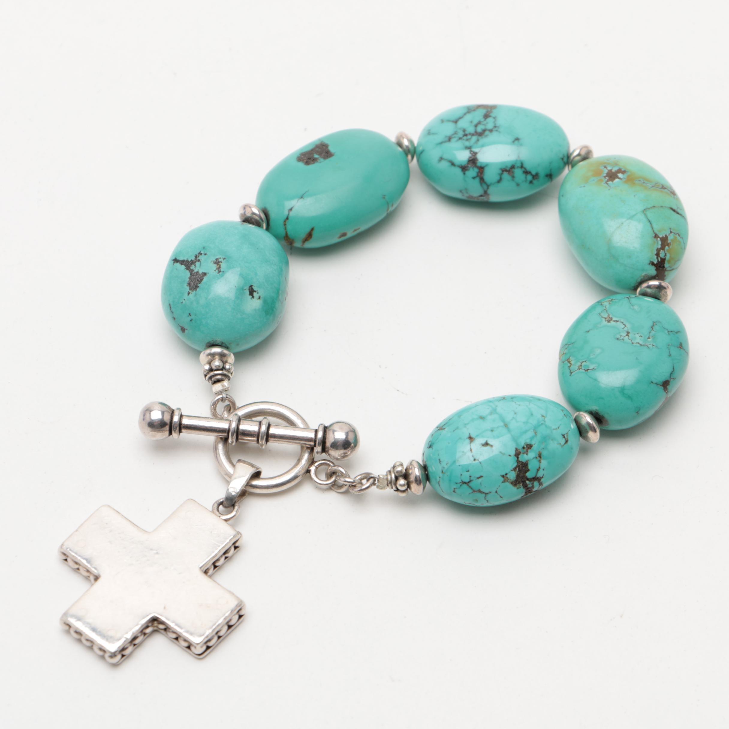 Southwestern Style Sterling Silver Dyed Howlite Bracelet