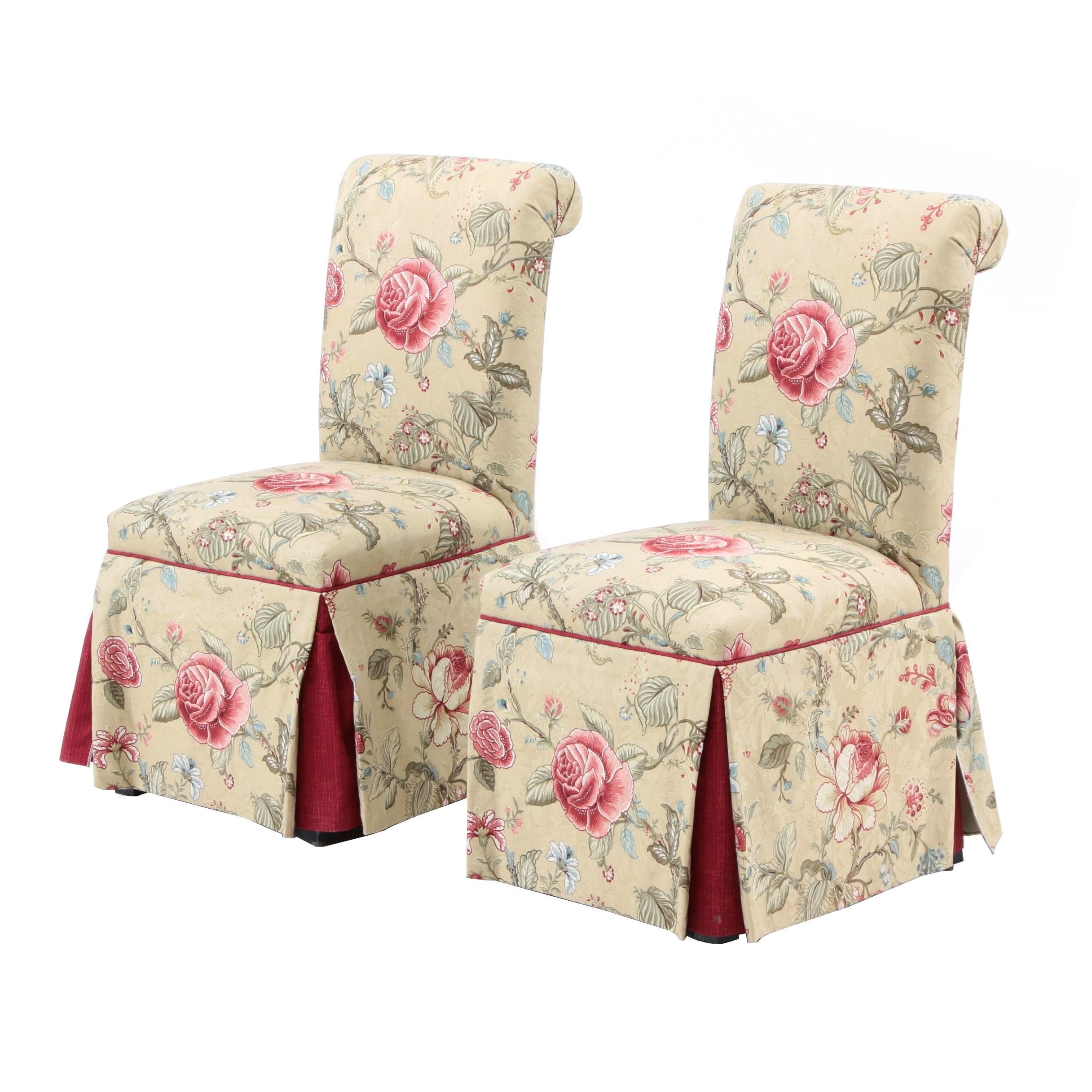 Pair of Floral Upholstered Dining Chairs
