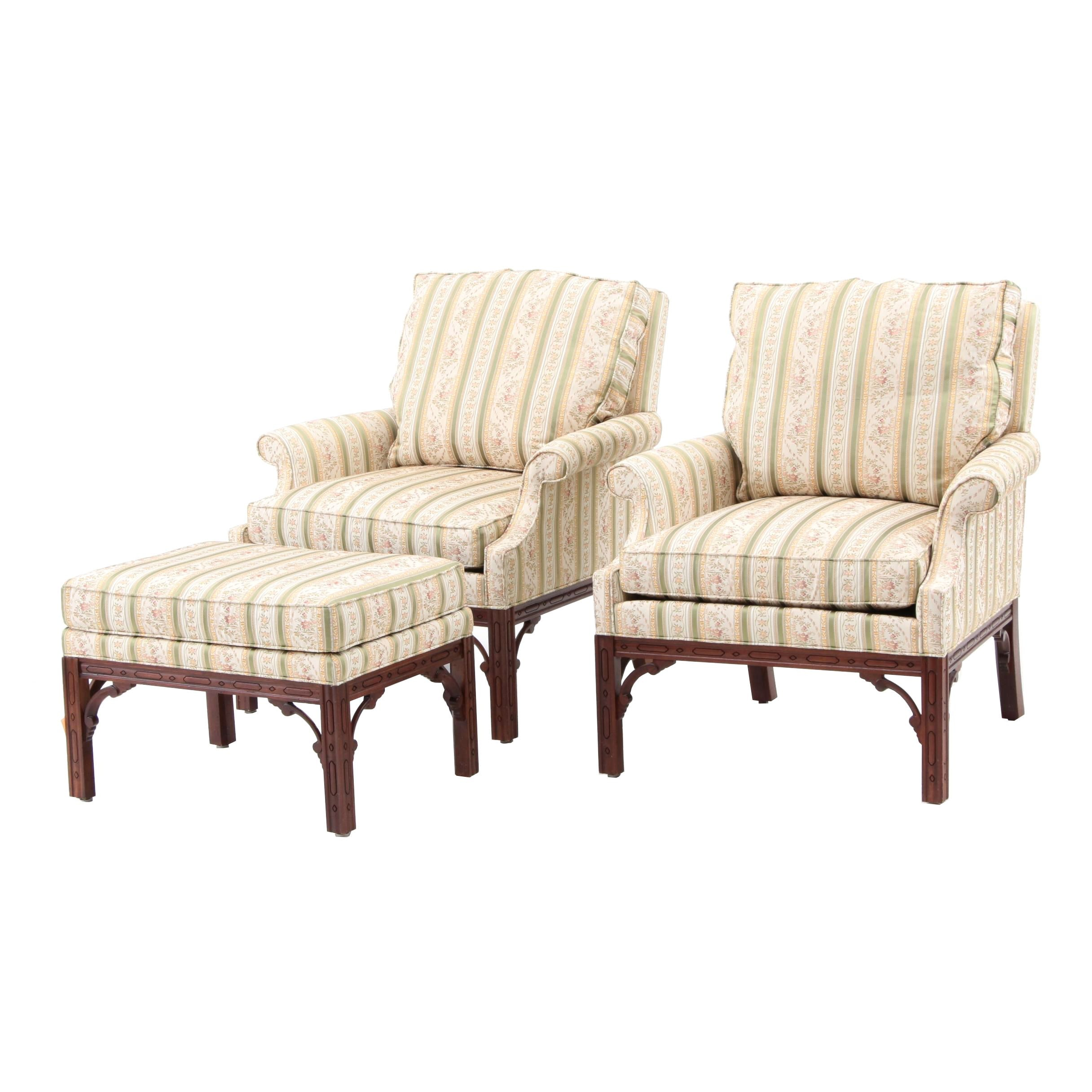 Pair of Chippendale Style Lounge Chairs with Ottoman