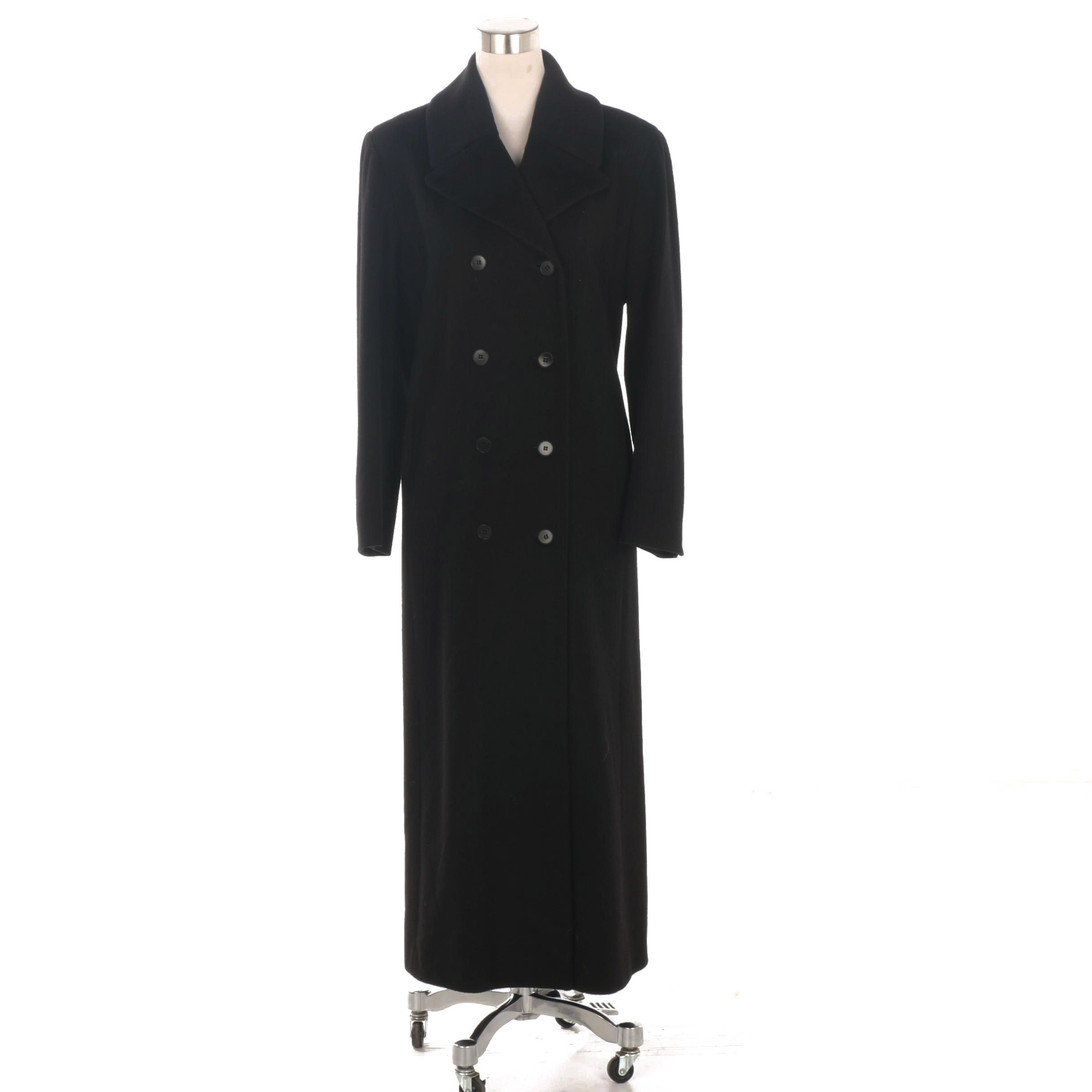 Anne Klein Double-Breasted Black Wool Coat