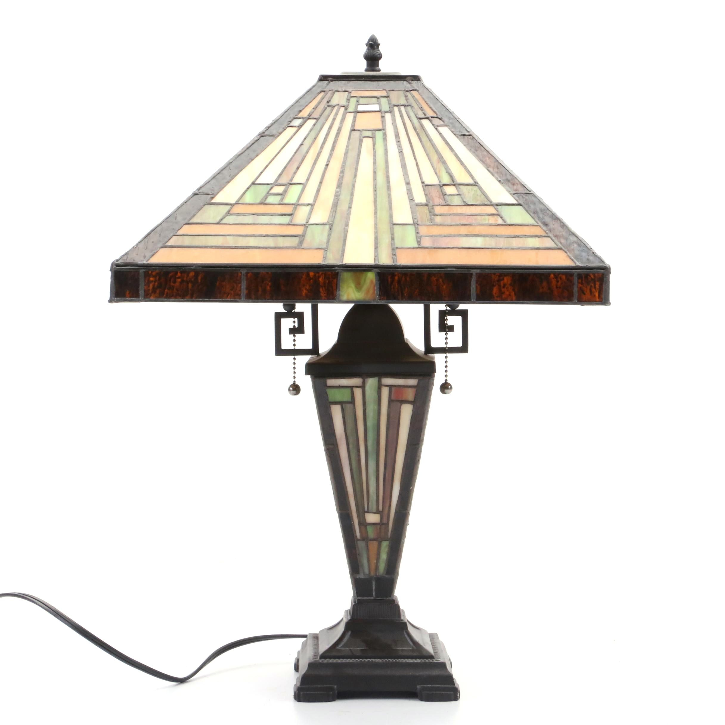 Arts And Crafts Style Slag Glass Table Lamp Featuring Lighted Base