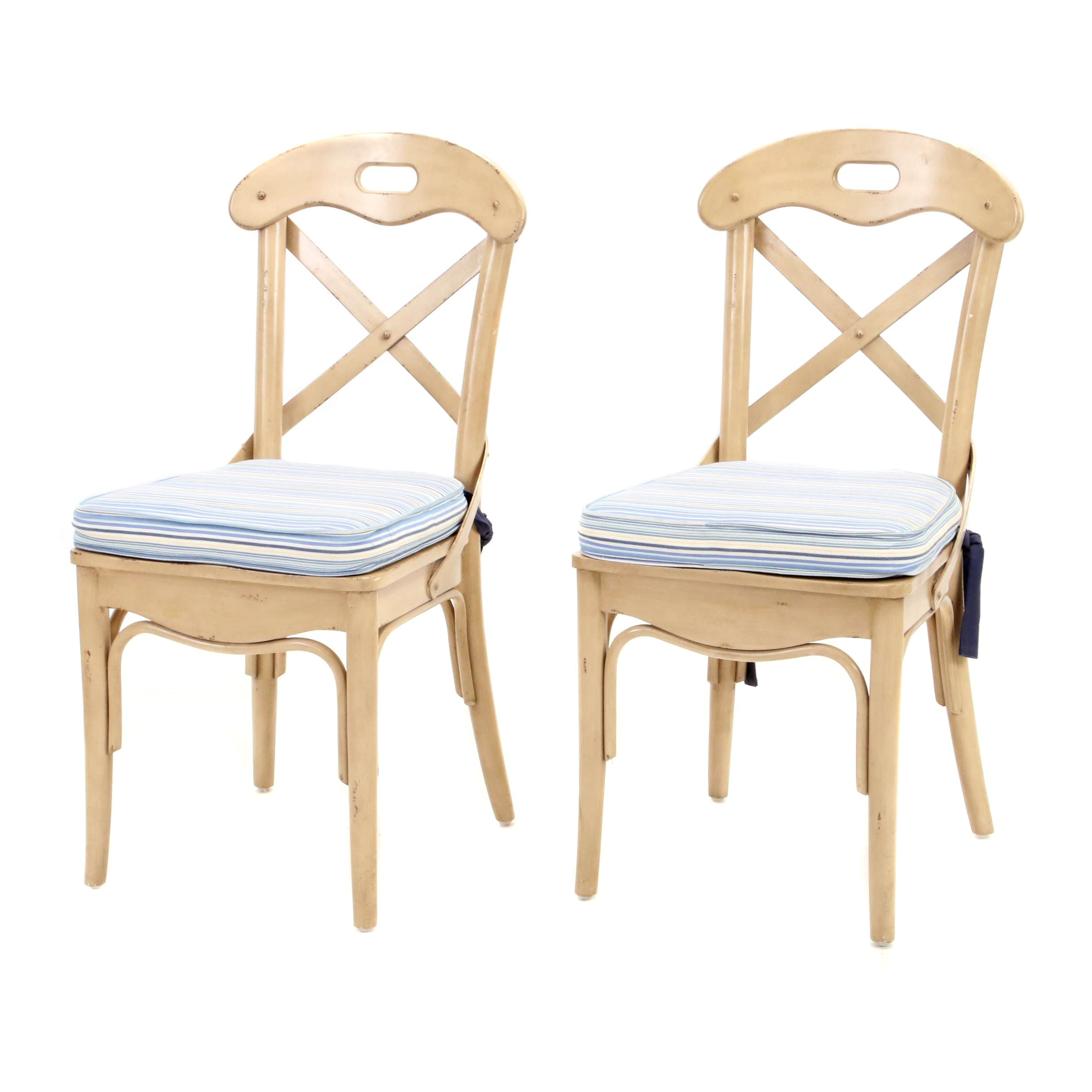 Painted Bent Wood Side Chairs with Seat Cushions