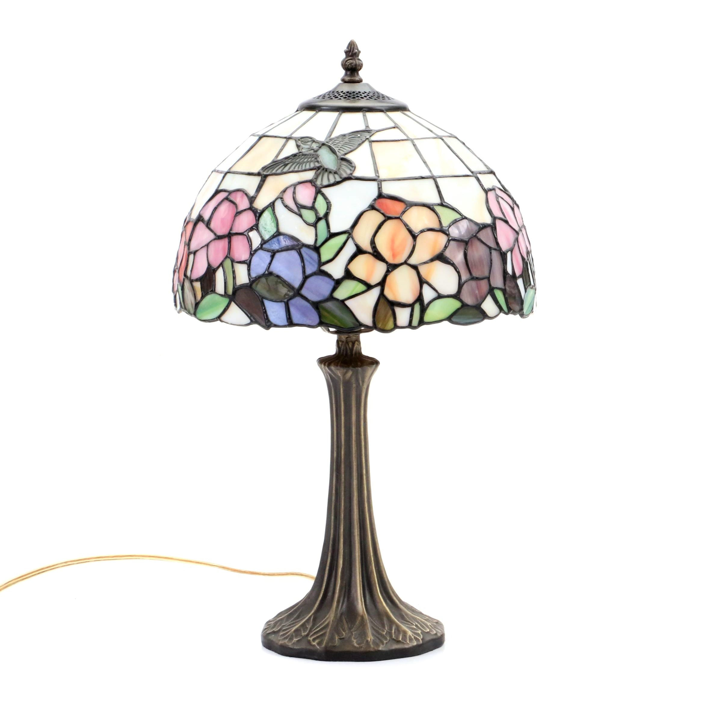Dale Tiffany Stain Glass Table Lamp with Hummingbird and Floral Motif