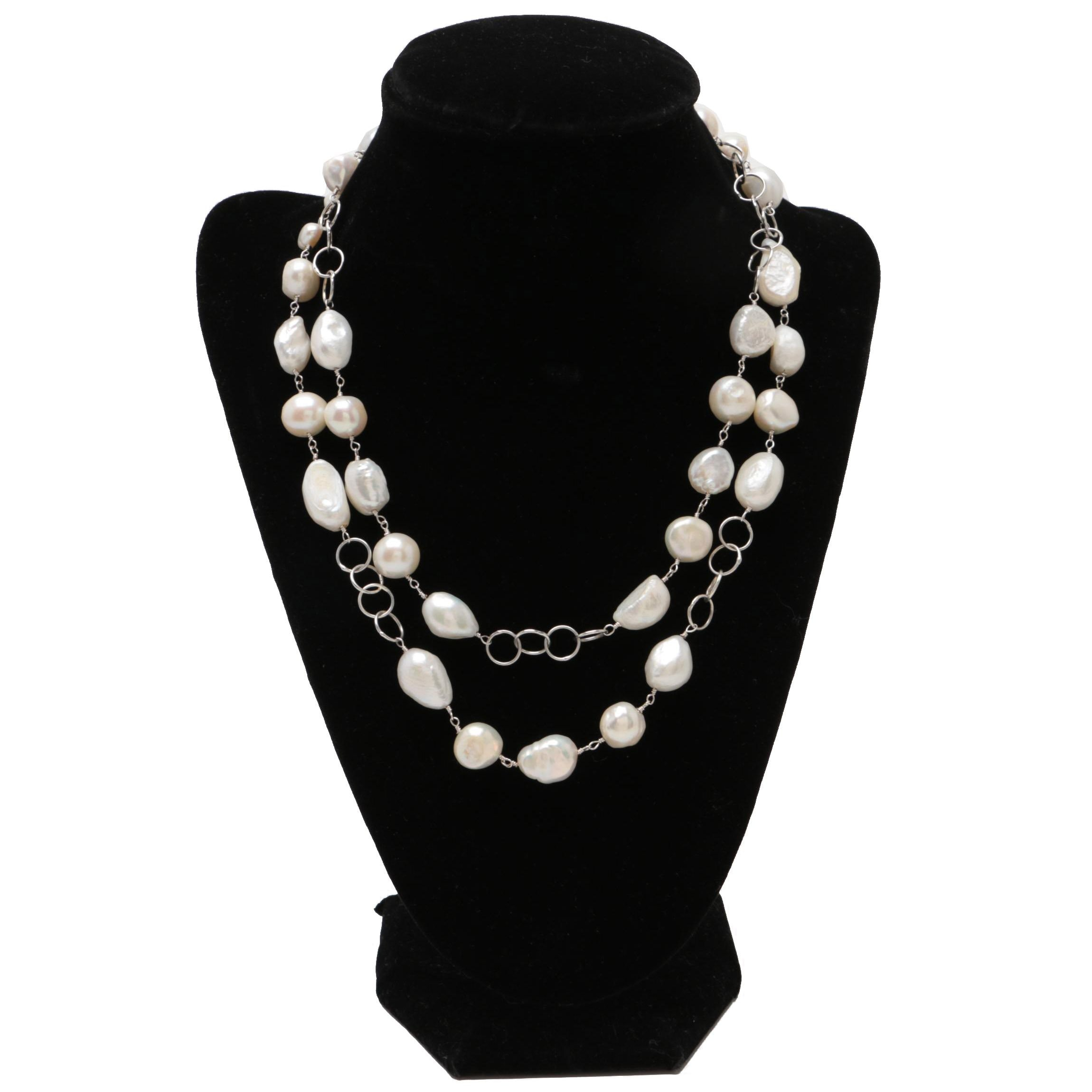 Sterling Silver Cultured Pearl Baroque Necklace