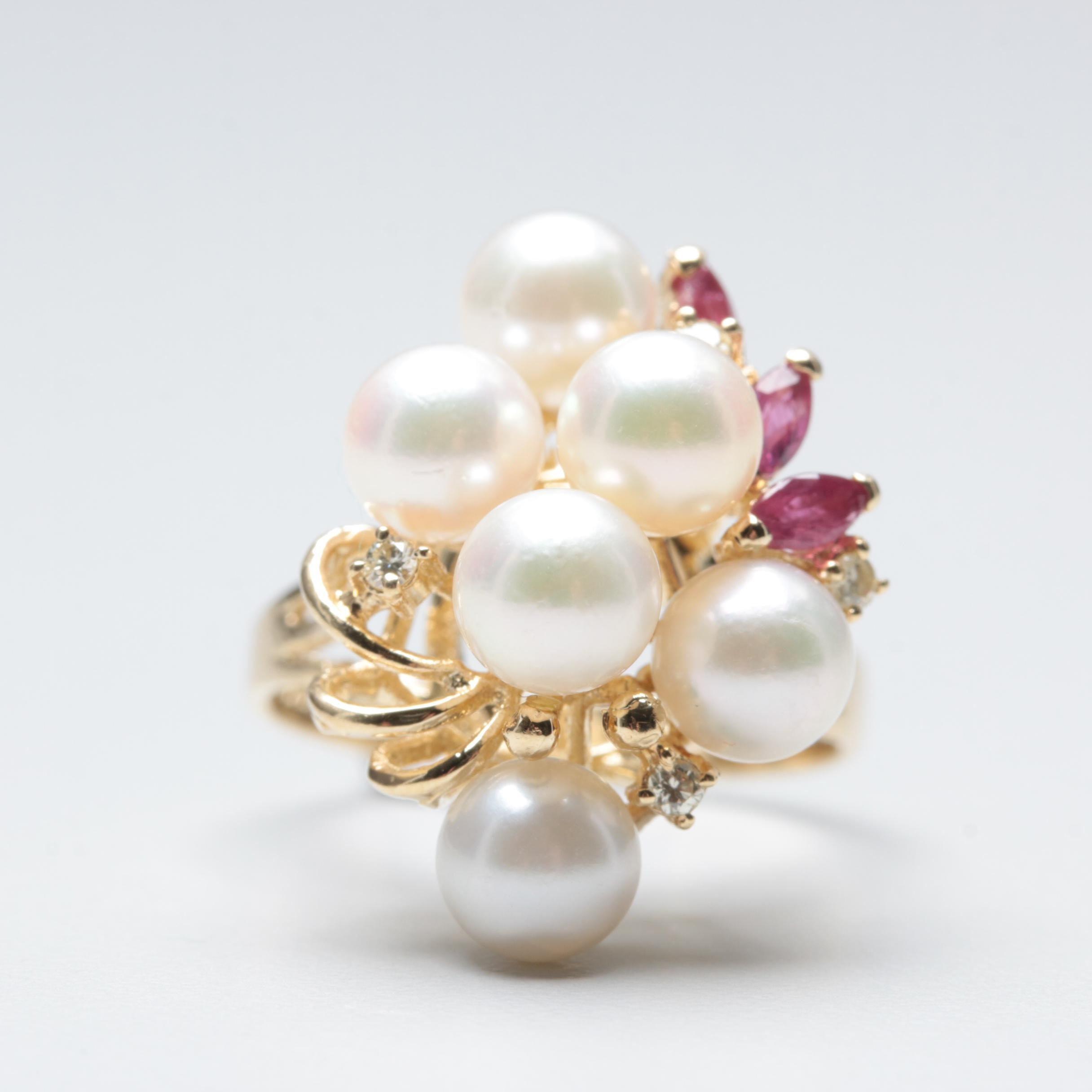 14K Yellow Gold Cultured Pearl, Diamond and Ruby Ring