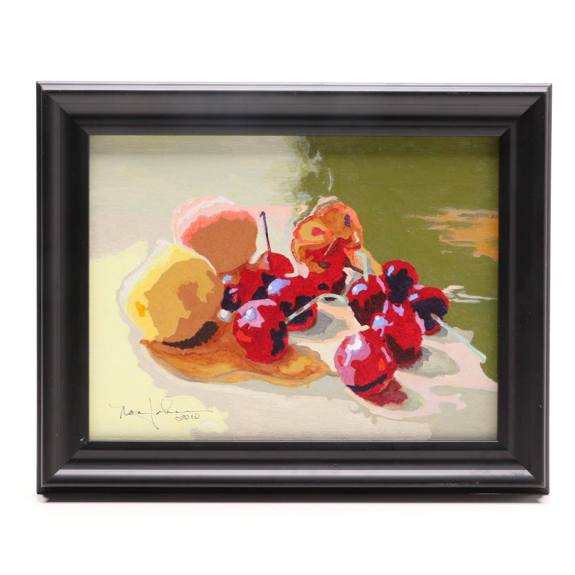 "2010 Nan Johnson Acrylic Painting ""Fruit Still Life"""