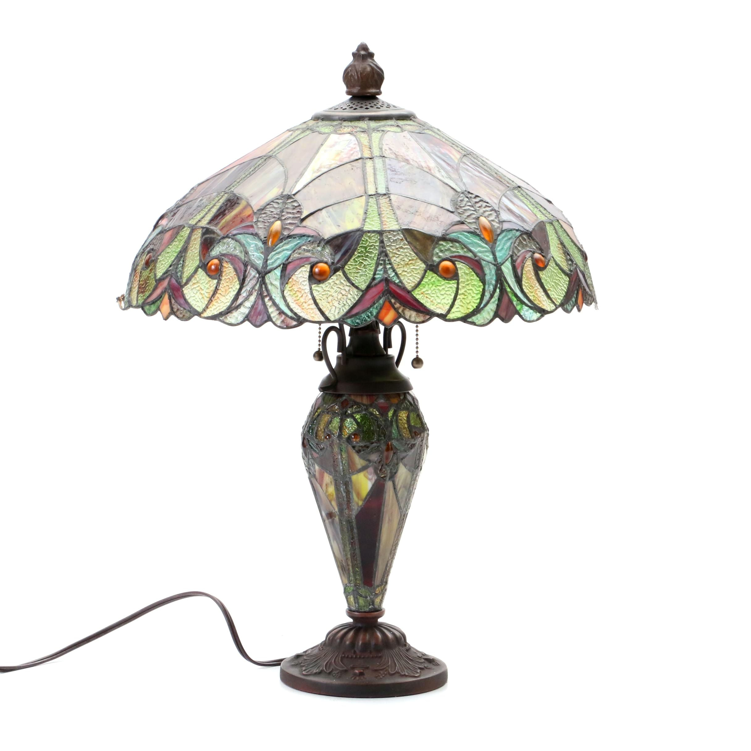 Contemporary Slag and Stained Glass Table Lamp