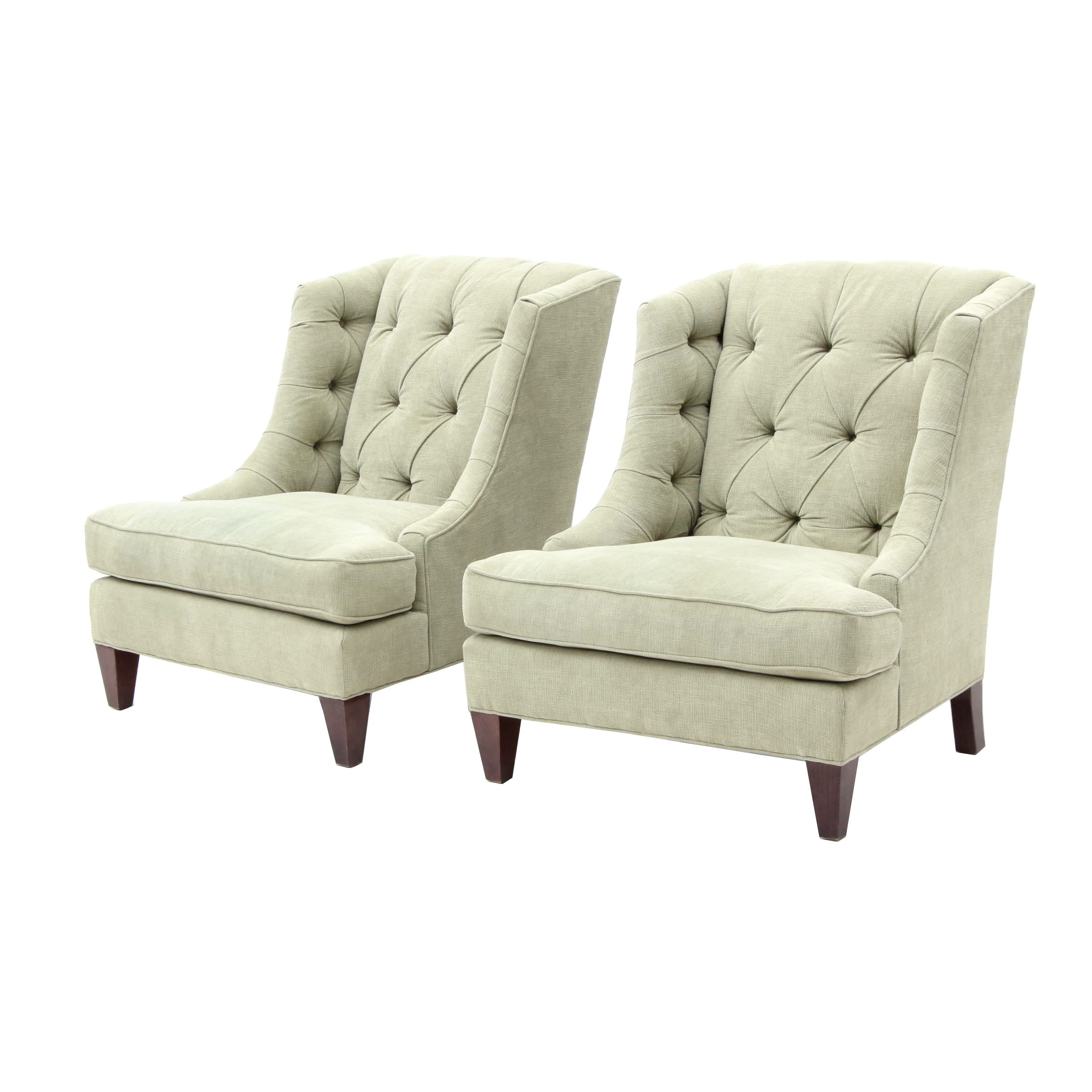 Two Light Green Upholstered Armchairs By Sam Moore Furniture