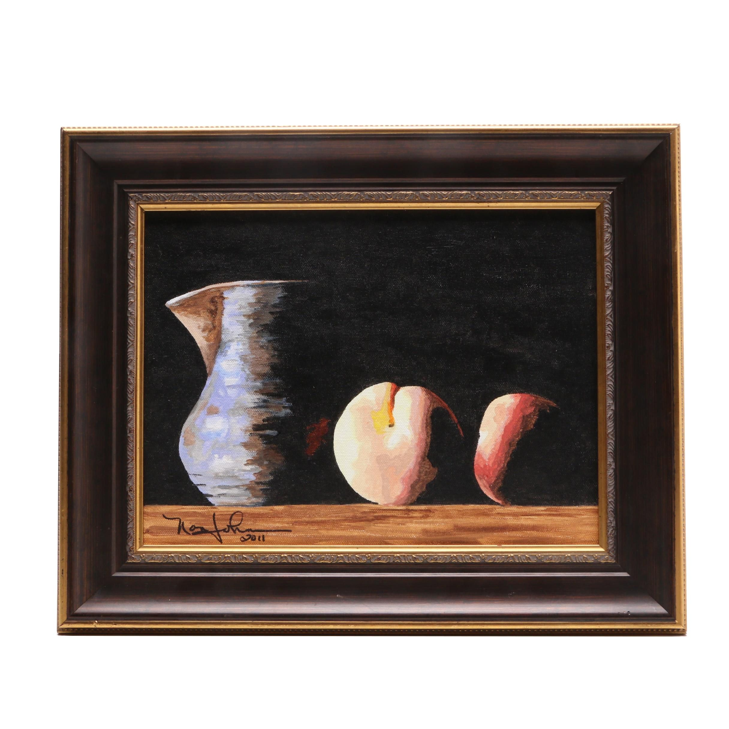 """2011 Nan Johnson Acrylic Painting """"Pitcher with Fruit"""""""
