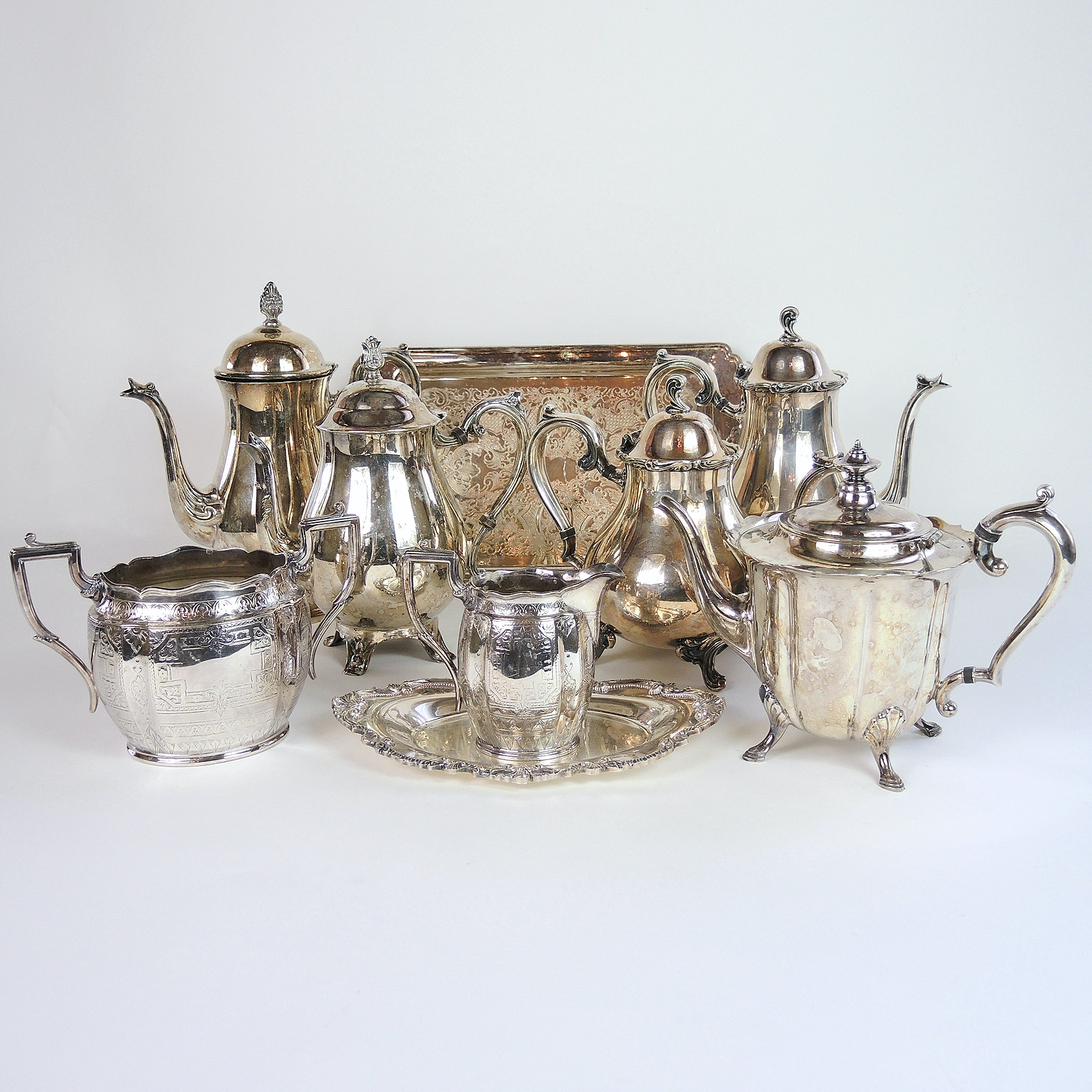James Dixon & Sons Sugar and Creamer With Silver Plate Coffeepots and Teapots