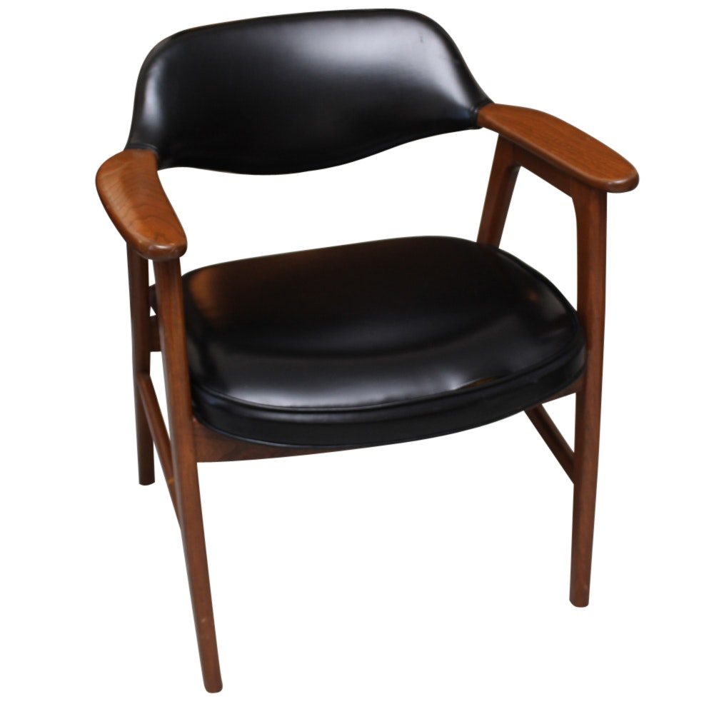 Mid Century Modern Black Vinyl Upholstered Armchair