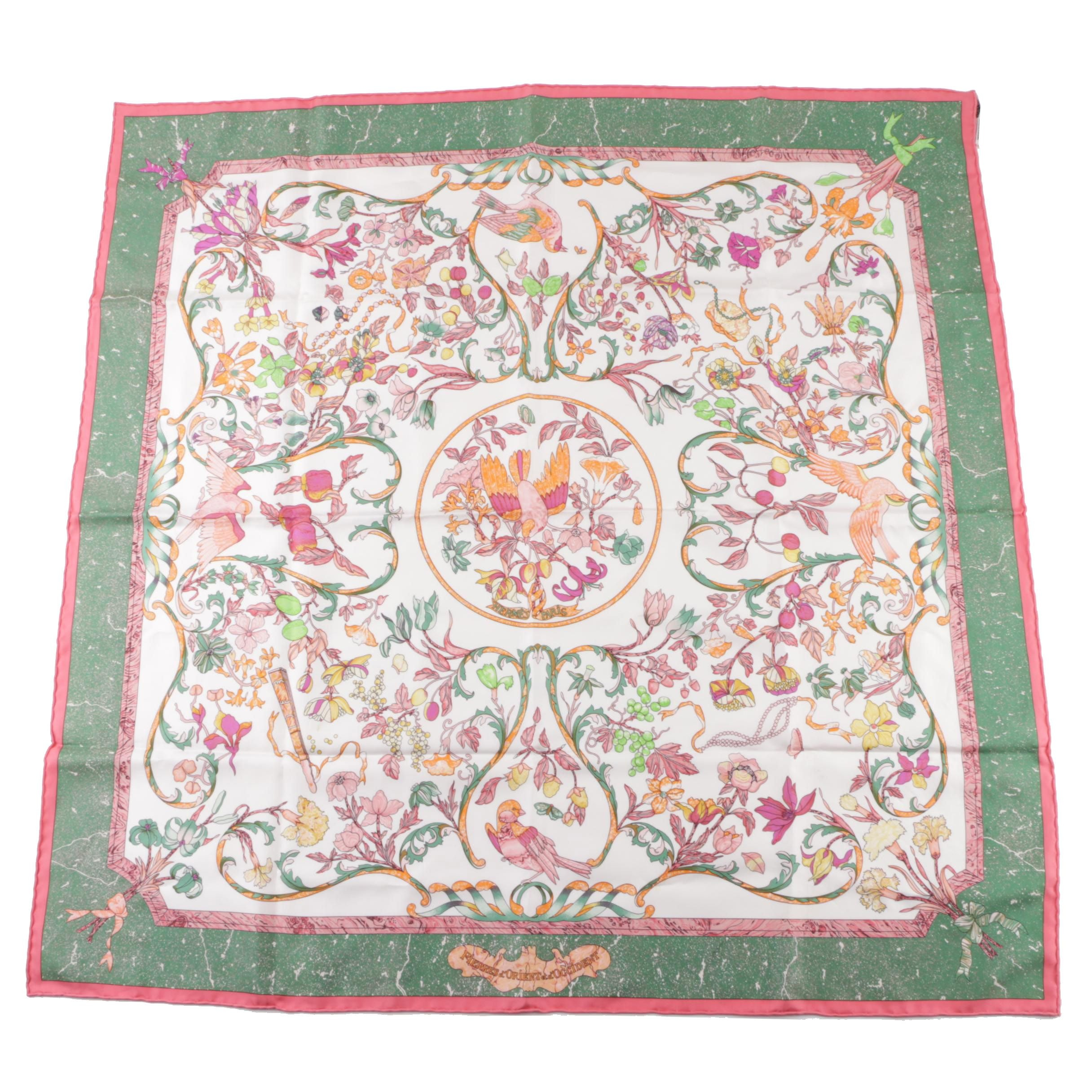 "Hermès of Paris ""Pierres d'Orient et d'Occident"" Silk Scarf"