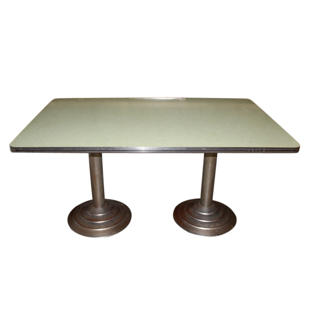 Vintage Mid-Century Laminate and Chrome Dining Table
