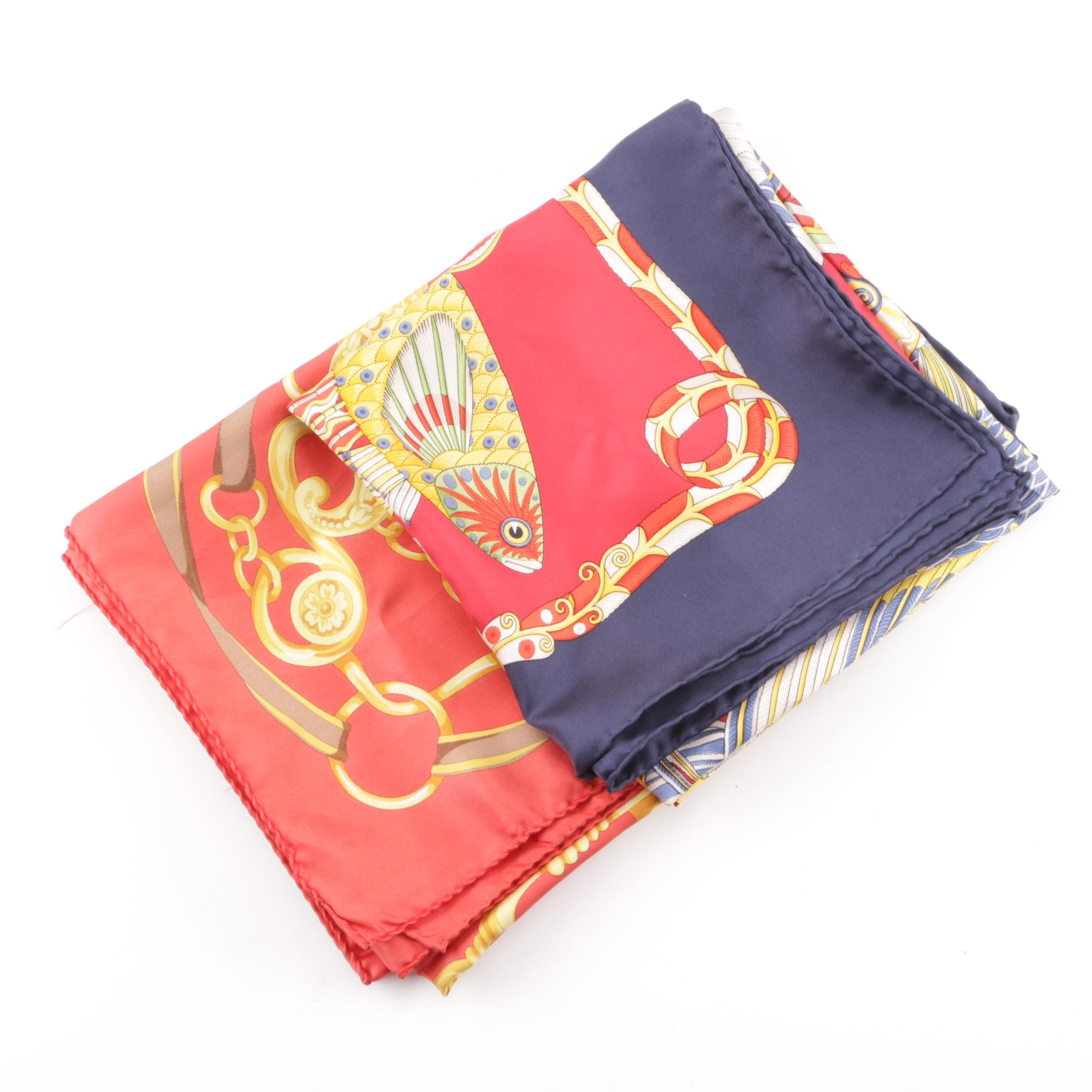 Salvatore Ferragamo and Frey Silk Scarves