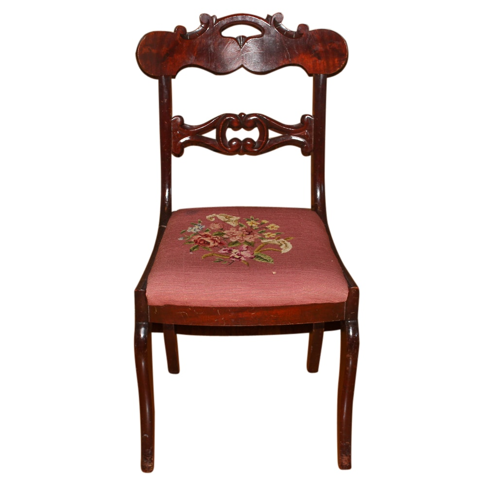 Vintage Victorian Style Mahogany Side Chair with Needlepoint Seat
