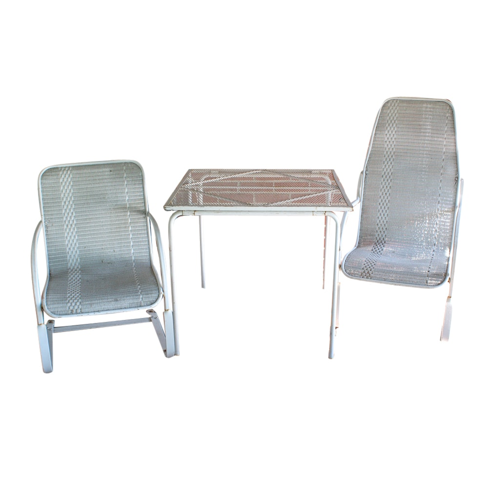 White Metal Patio Table and Two Chairs