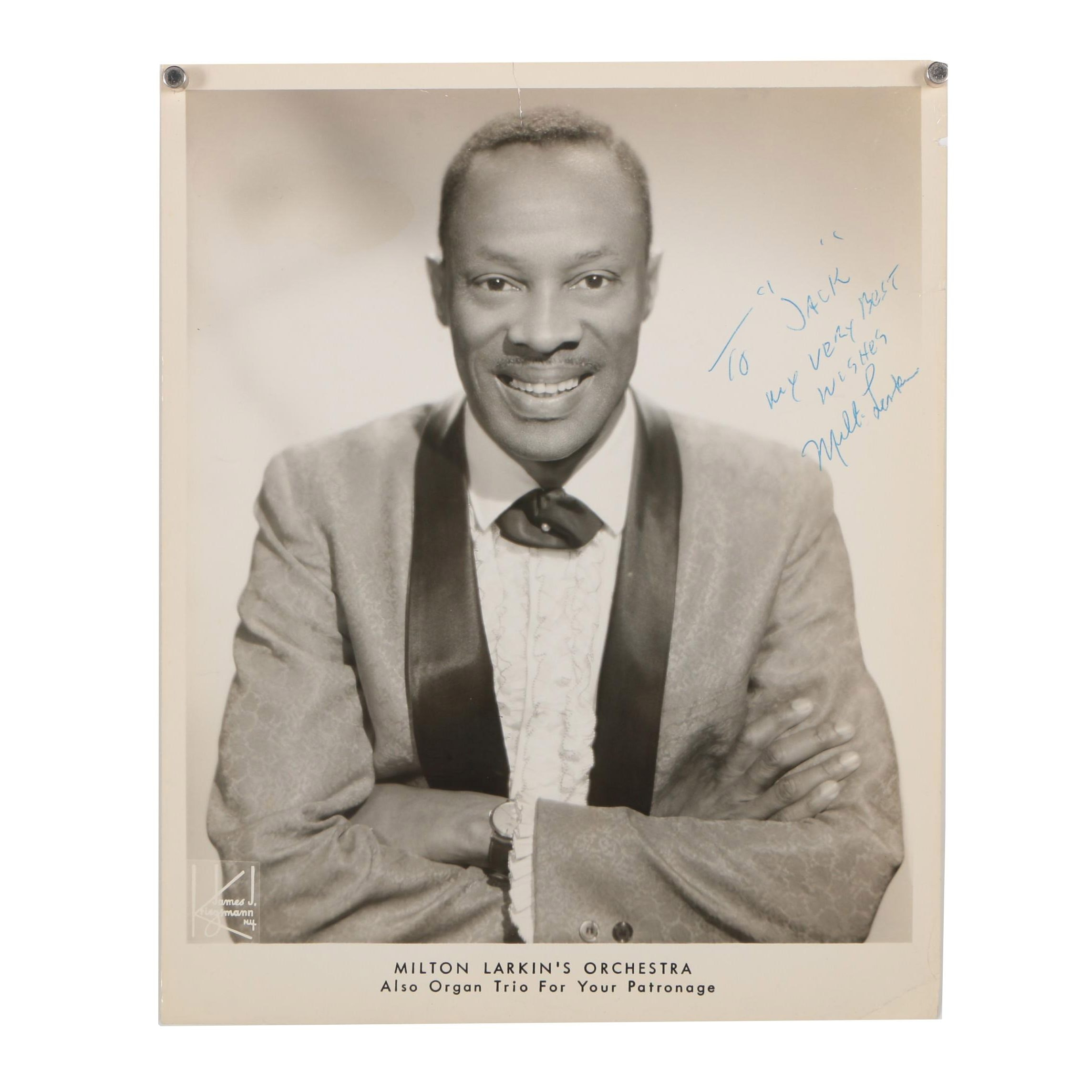 Milton Larkin Autographed Photograph from the Jack Bradley Collection