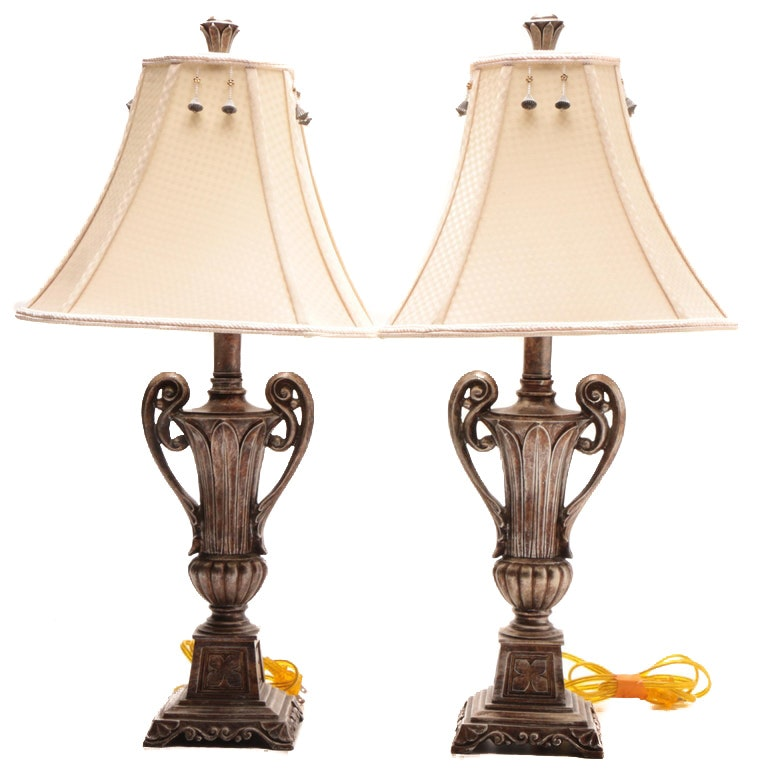 Decorative Silver Tone Urn Shape Table Lamps