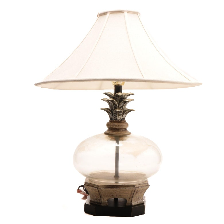 Decorative Glass Table Lamp with Bell Shade