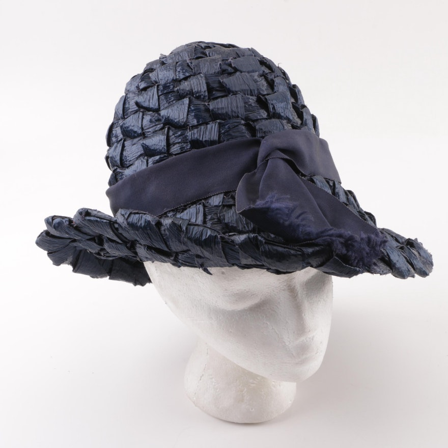 4e5d2378547d5 Marshall Field   Company Vintage Navy Blue Woven Hat   EBTH