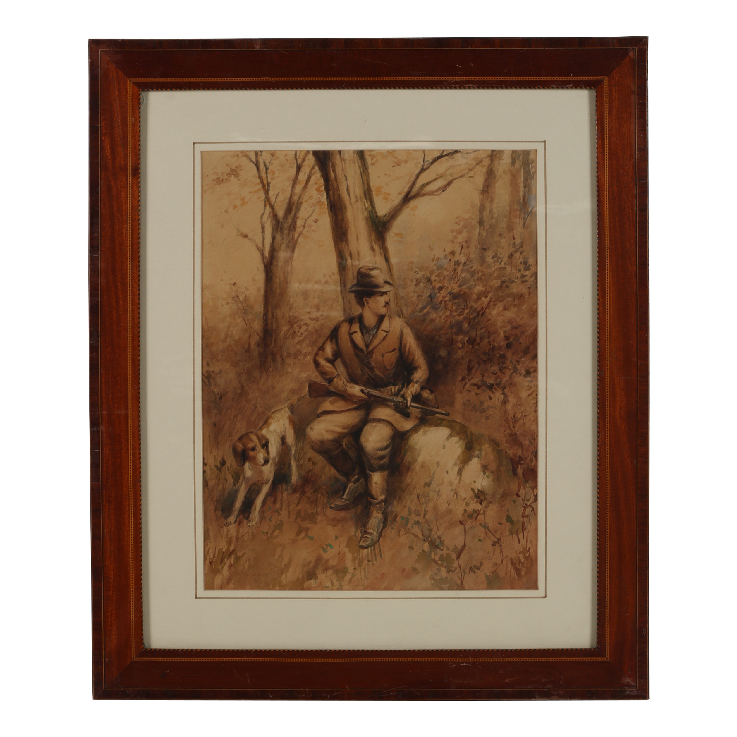 """Hauser Watercolor Painting """"Hunter with Dog"""""""