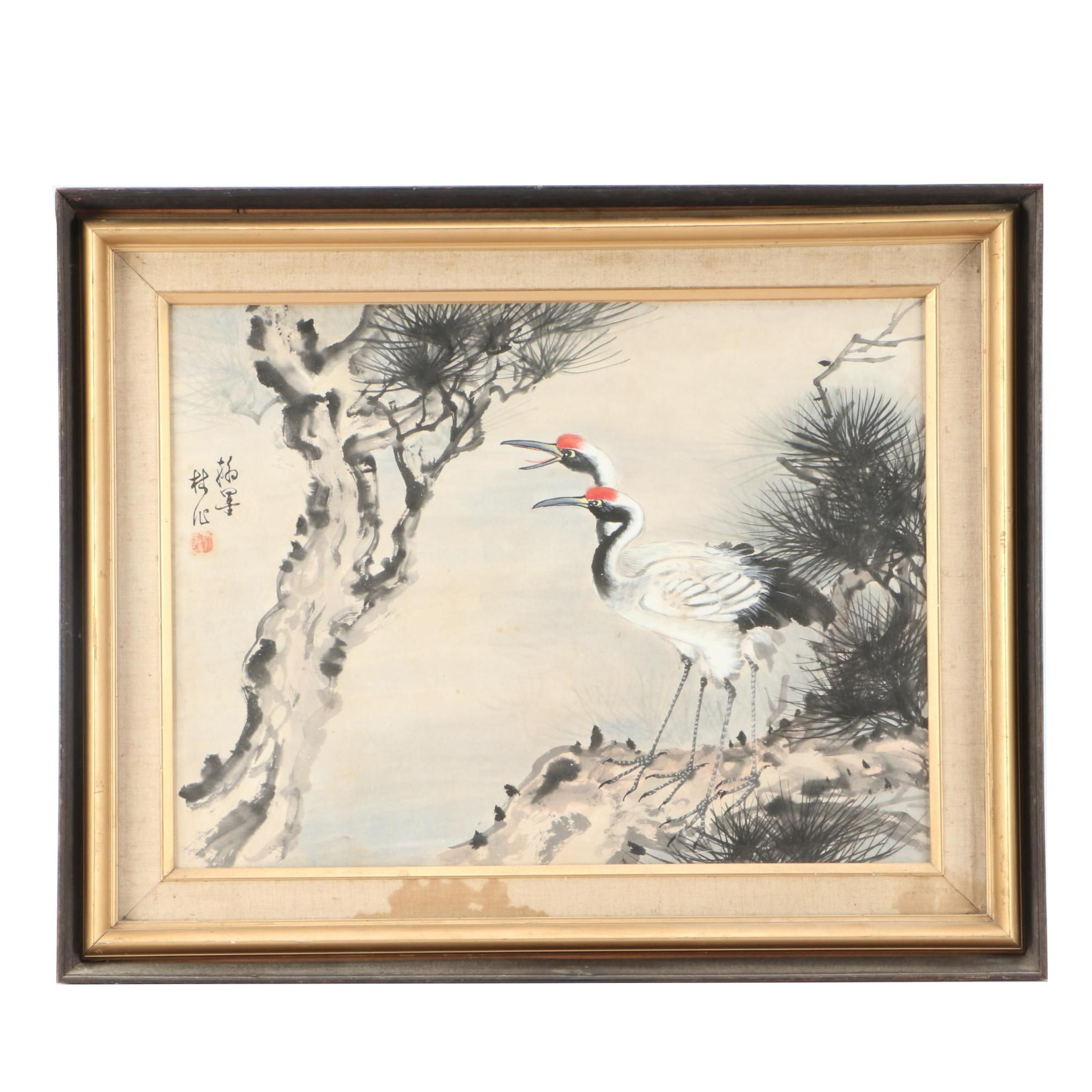 Chinese Ink and Watercolor Painting of Cranes and Pines
