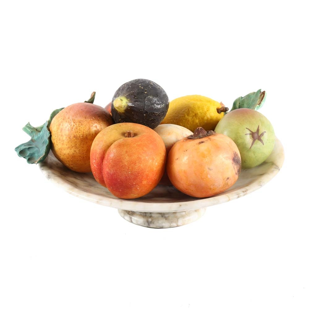 Italian Hand-Painted Alabaster Fruit and Bowl