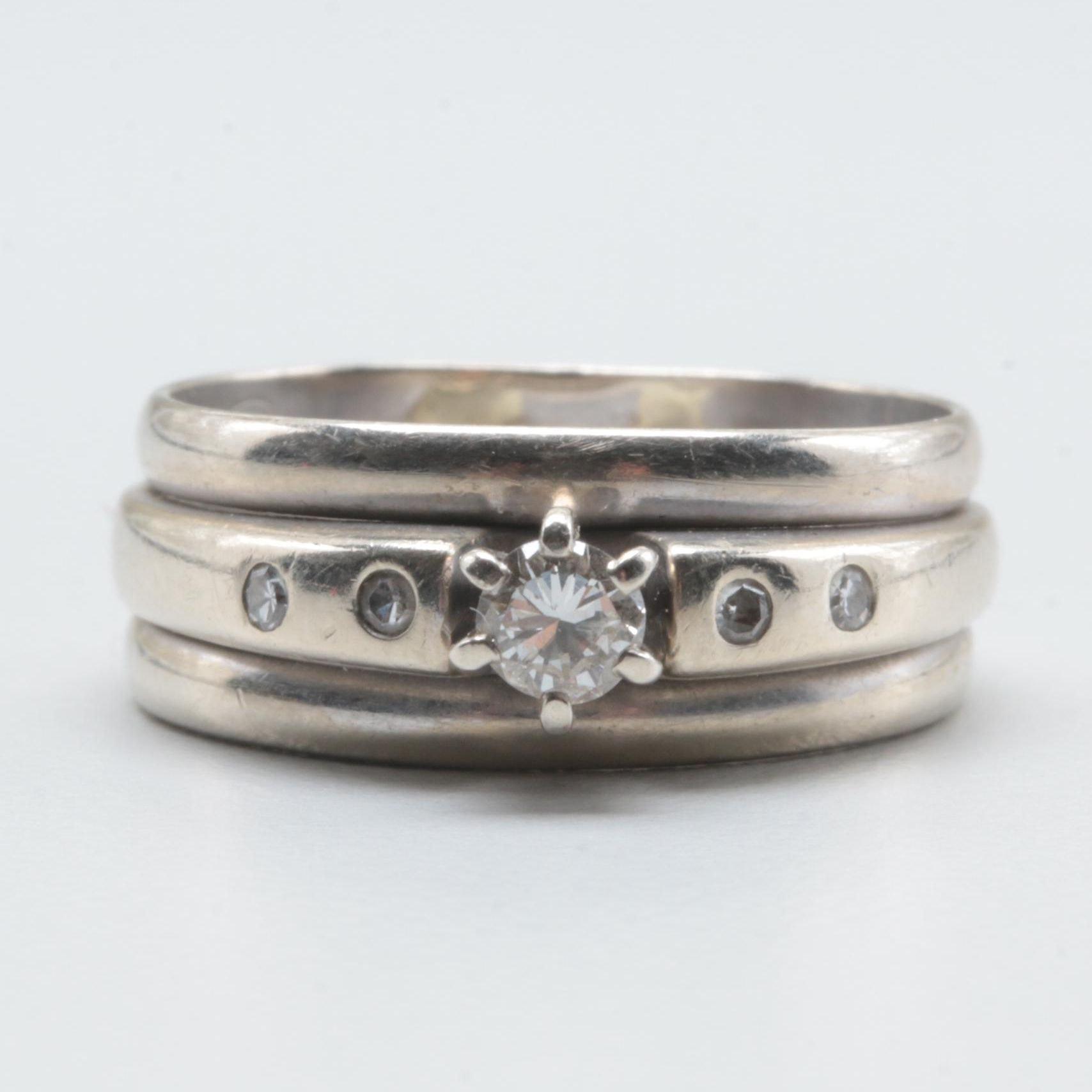 14K and 10K White Gold Diamond Ring