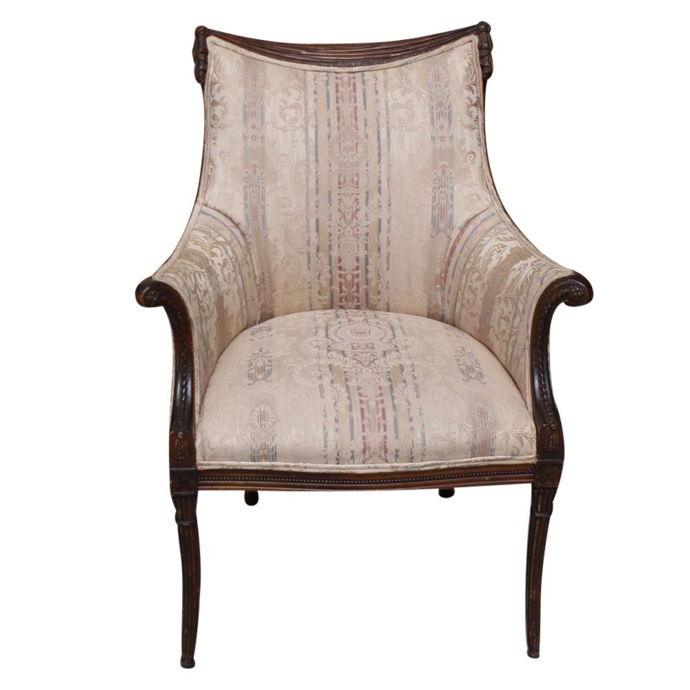 Vintage Regency Style Upholstered Armchair