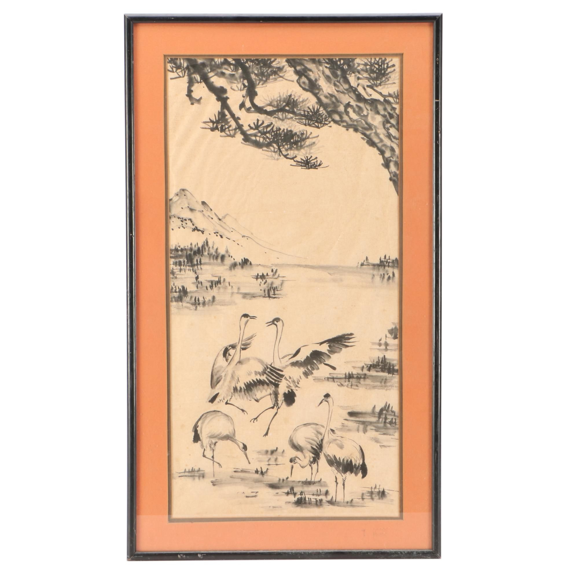Chinese Ink Painting of Cranes and Pines